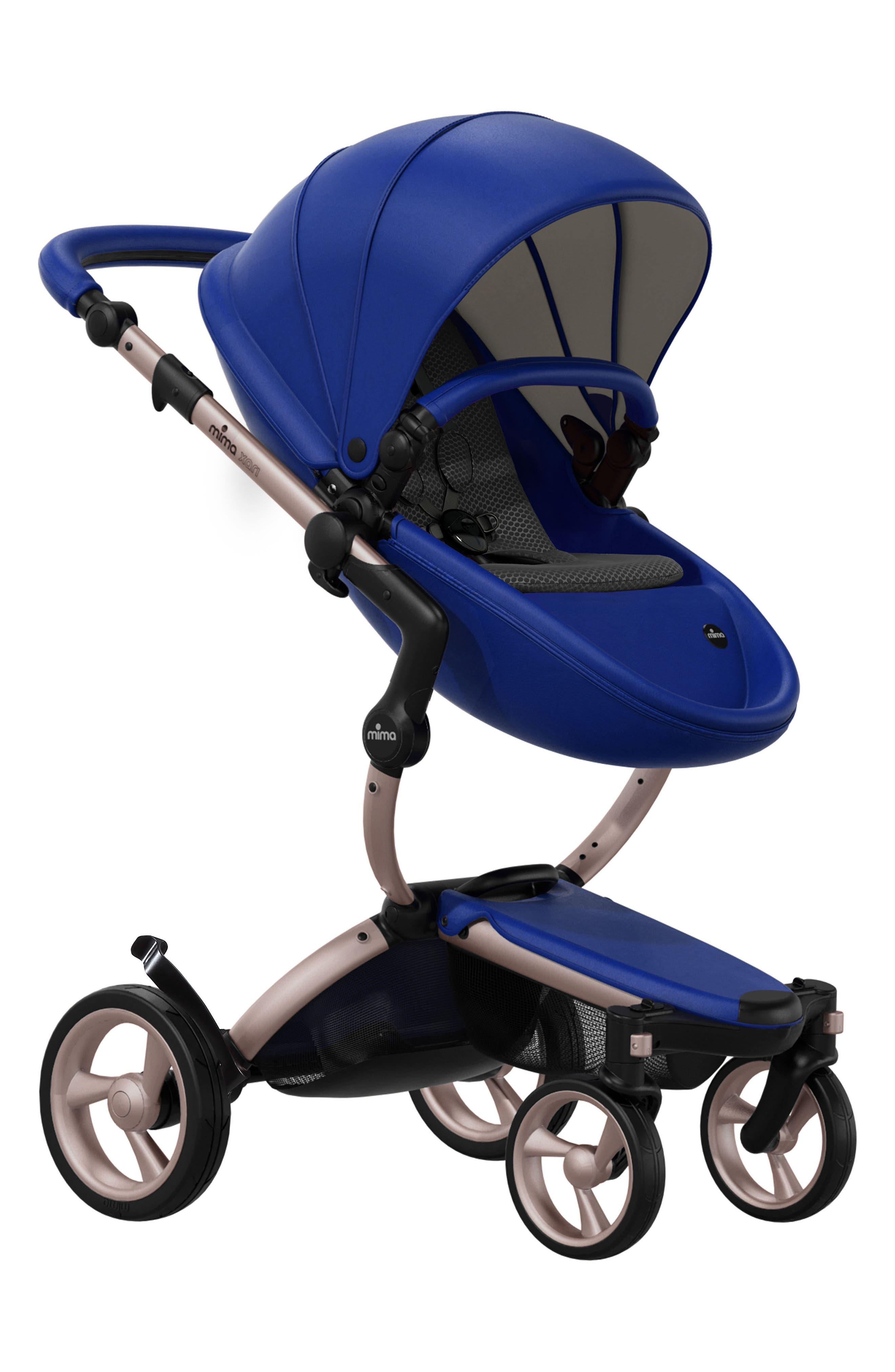 Xari Rose Gold Chassis Stroller with Reversible Reclining Seat & Carrycot,                         Main,                         color, Royal Blue/ Black