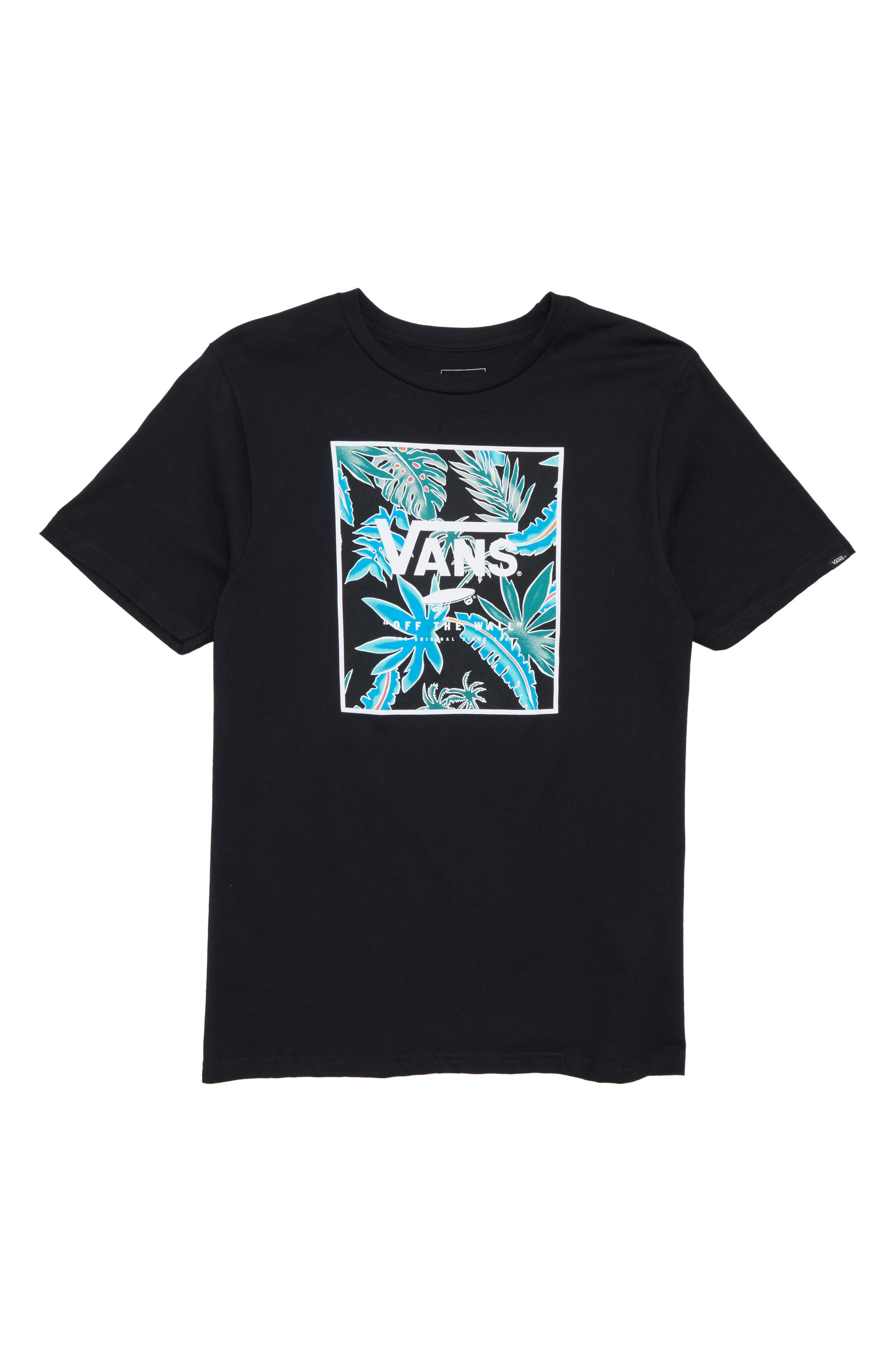 Logo Box Graphic T-Shirt,                             Main thumbnail 1, color,                             Black/ Black Pit Stop Floral
