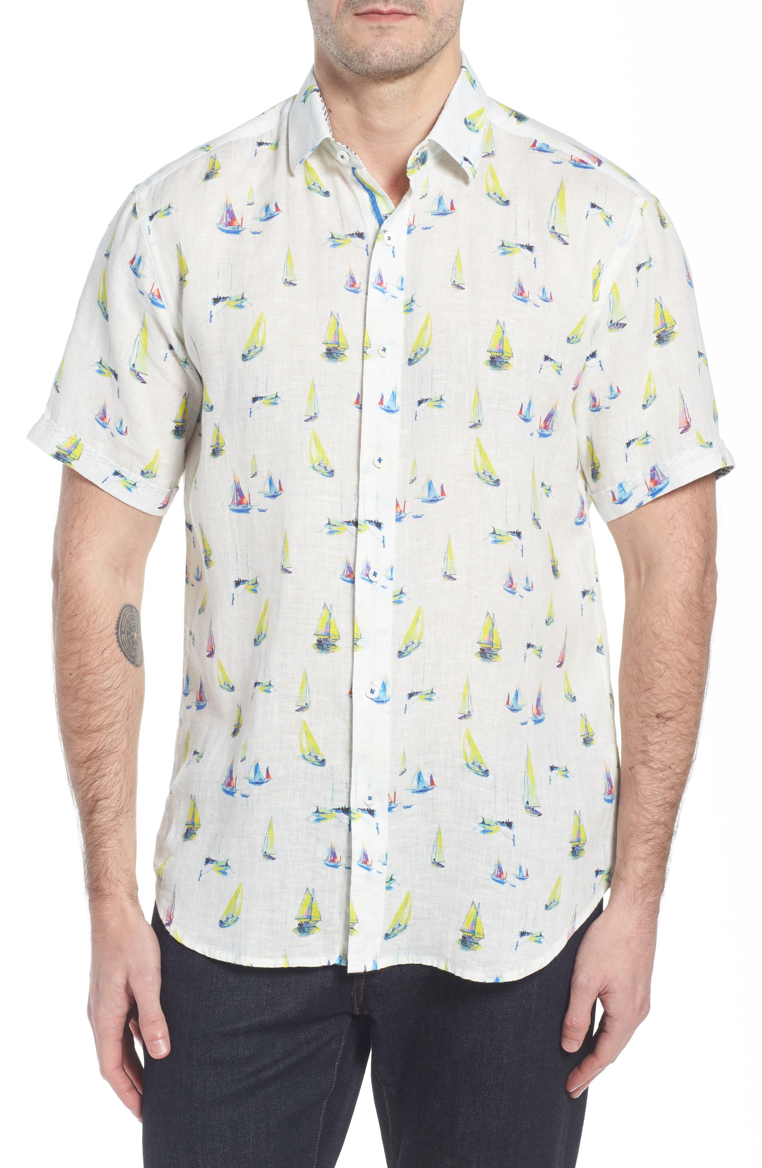 Shaped Fit Sailboat Linen Sport Shirt,                         Main,                         color, Chalk
