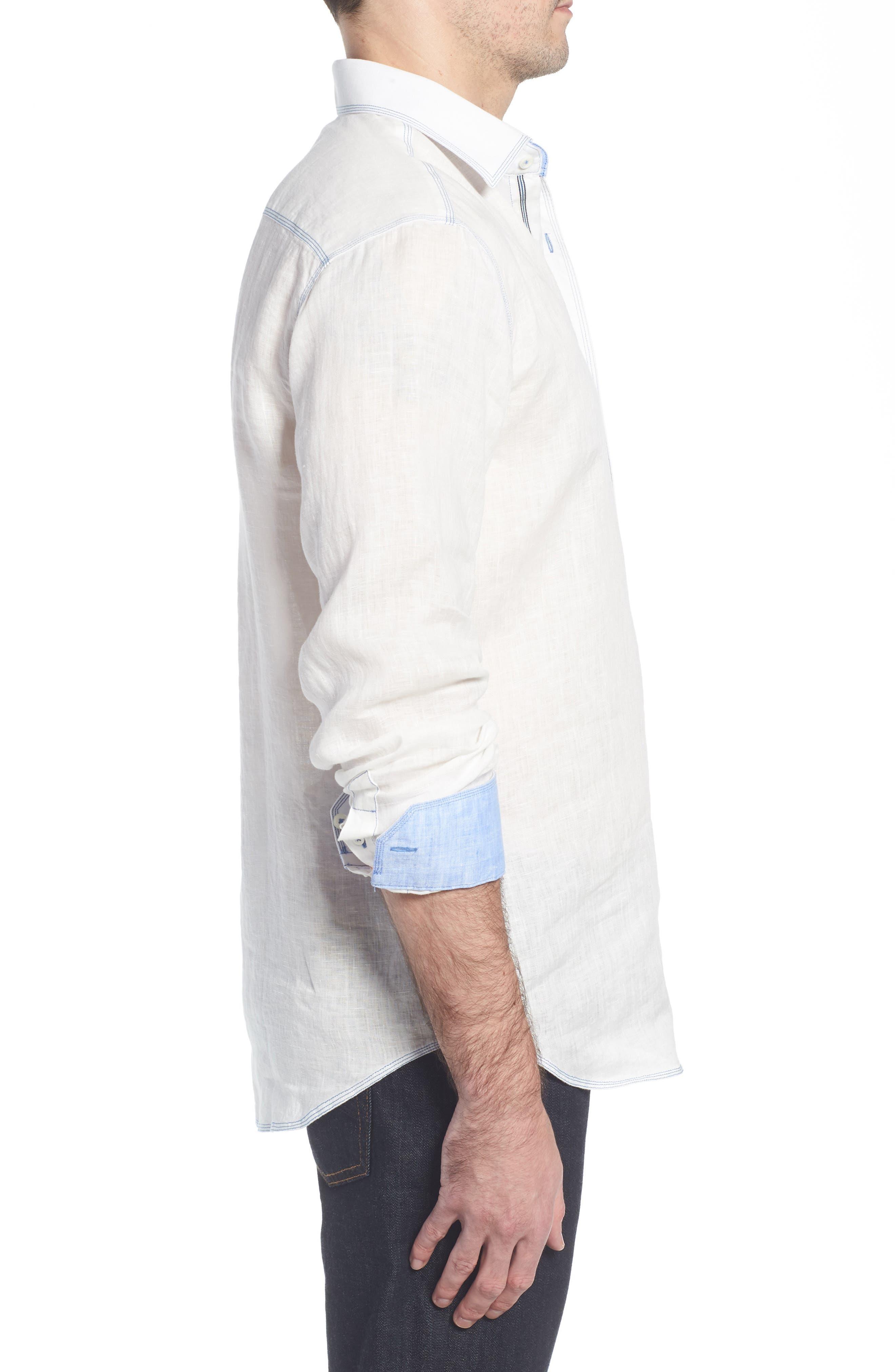 Shaped Fit Linen Sport Shirt,                             Alternate thumbnail 4, color,                             White