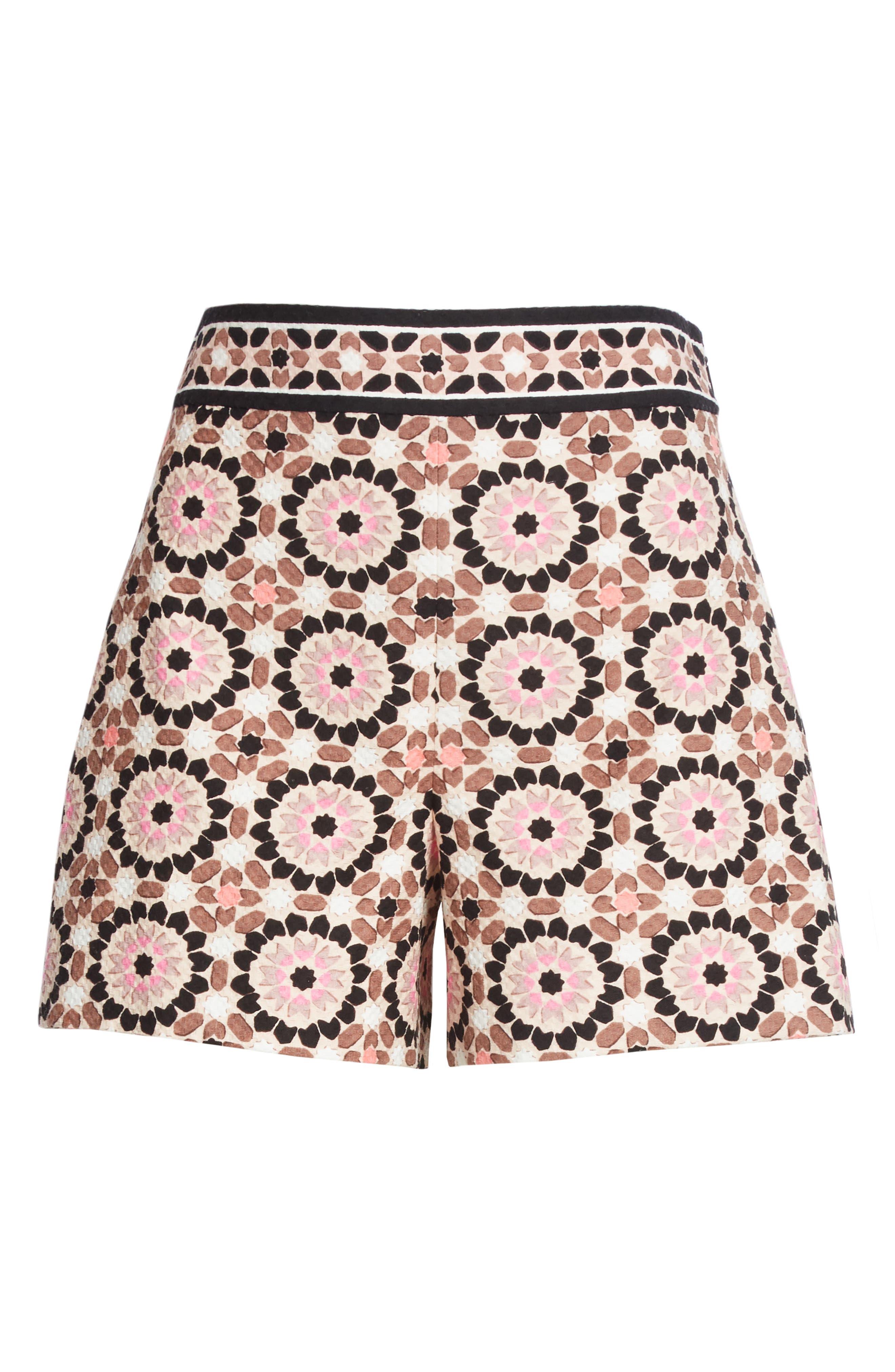 floral mosaic jacquard shorts,                             Alternate thumbnail 6, color,                             Pearl Pink Multi