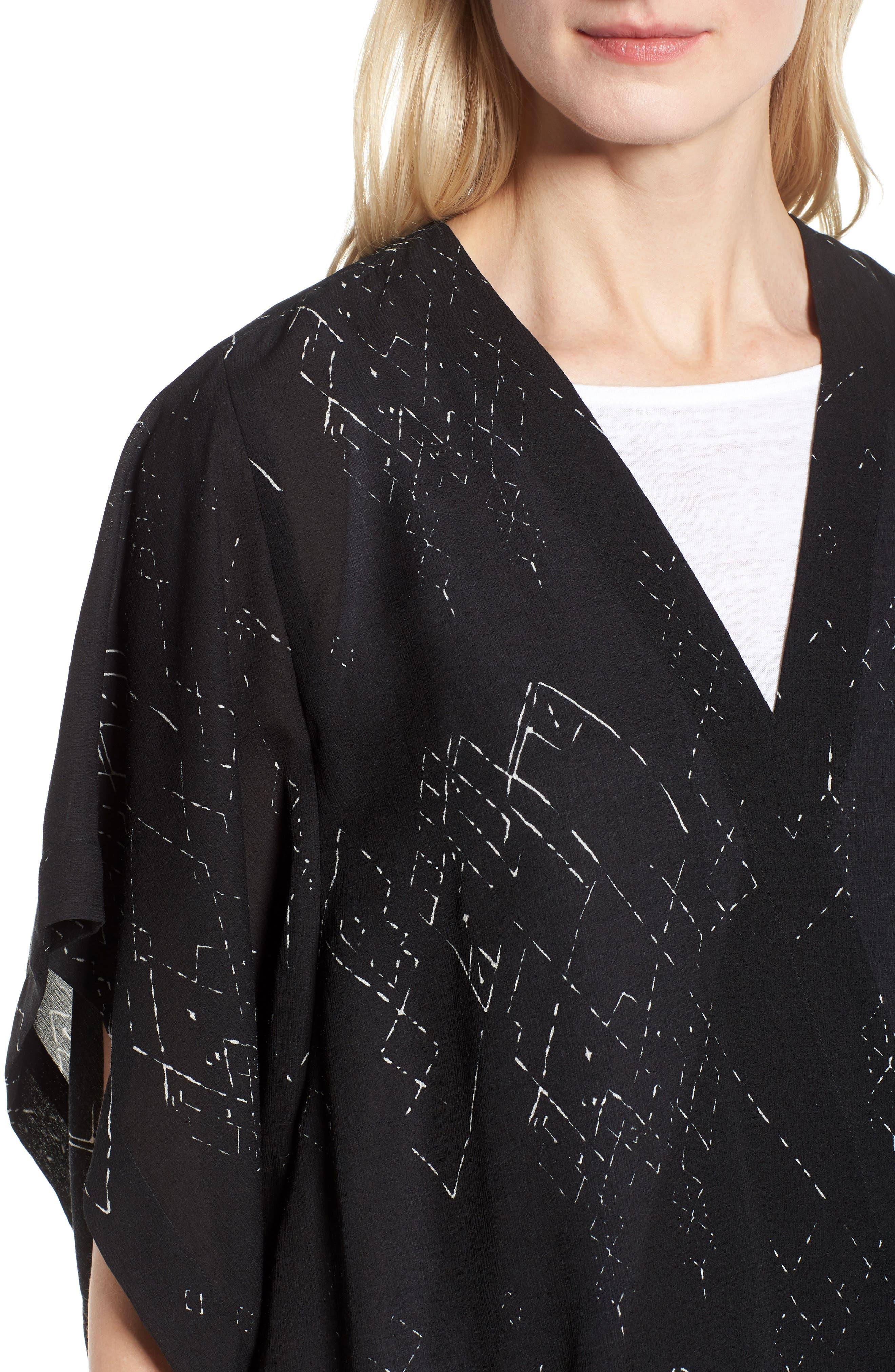 Long Silk Blend Kimono Jacket,                             Alternate thumbnail 4, color,                             Black