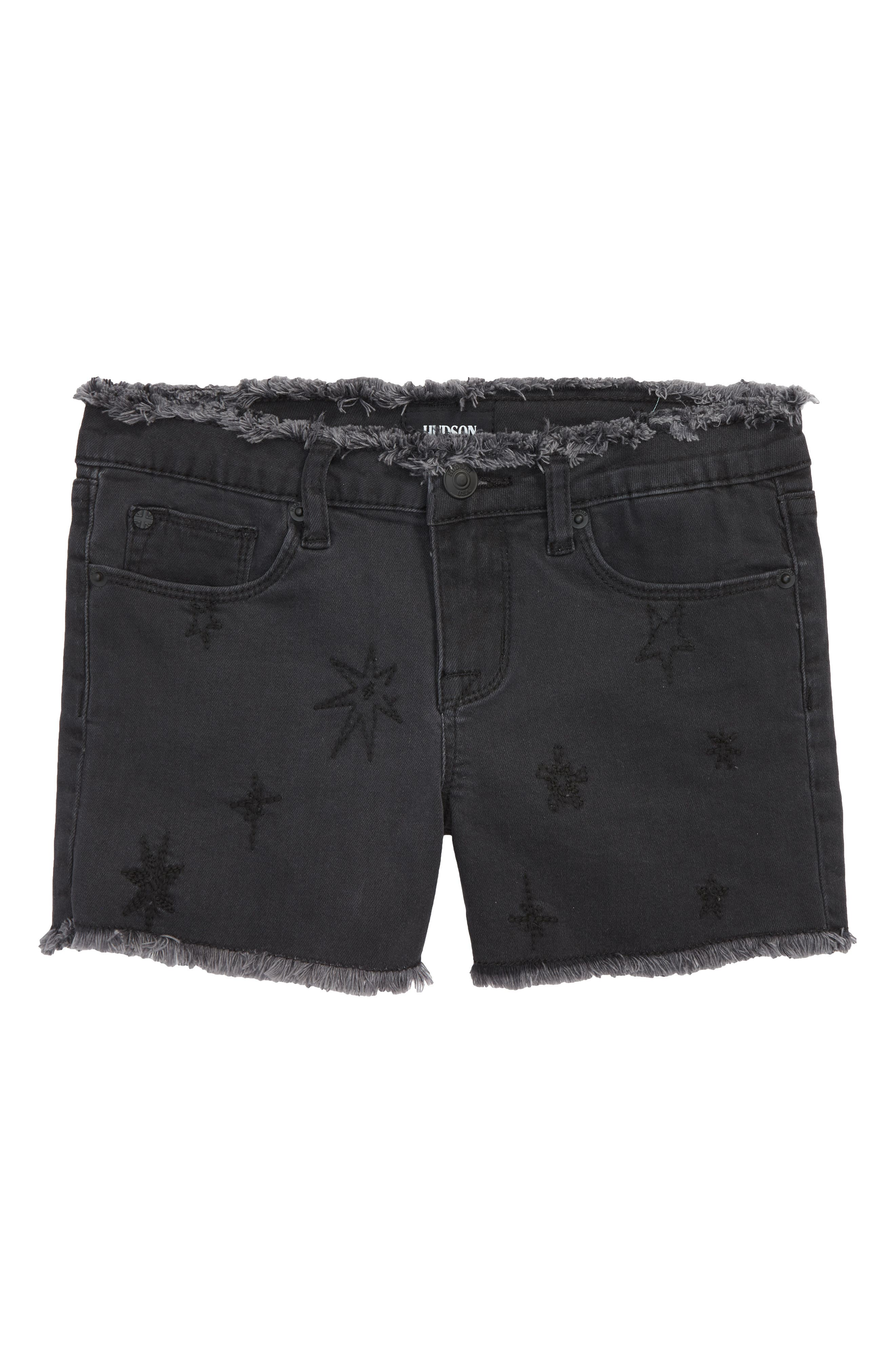 Hudson Kids Starry Night Embroidered Cutoff Stretch Twill Shorts (Big Girls)