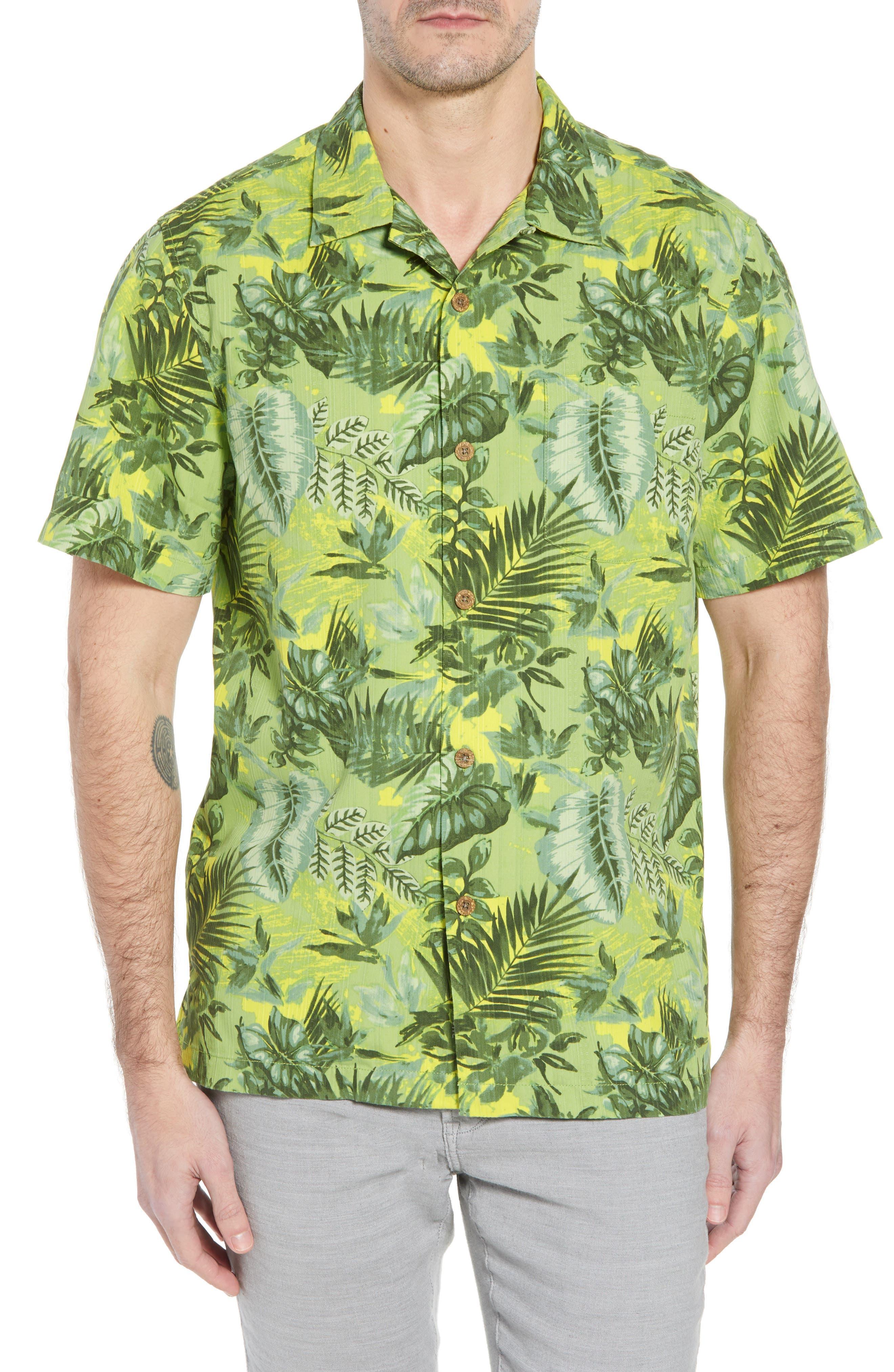 Selva Shores Silk Blend Performance Camp Shirt,                         Main,                         color, Jasmine Green