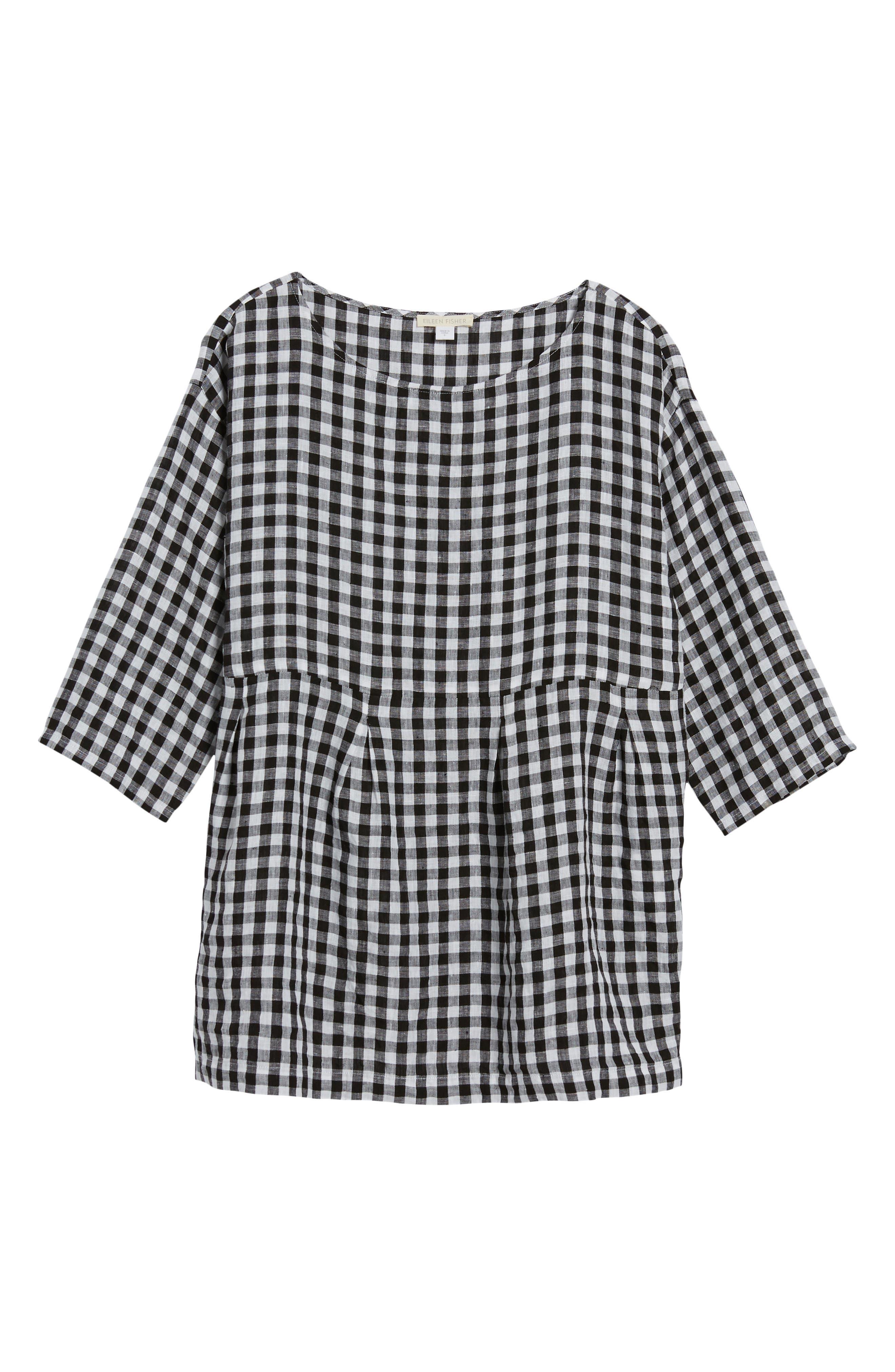 Gingham Organic Linen Top,                             Alternate thumbnail 7, color,                             Black/ White