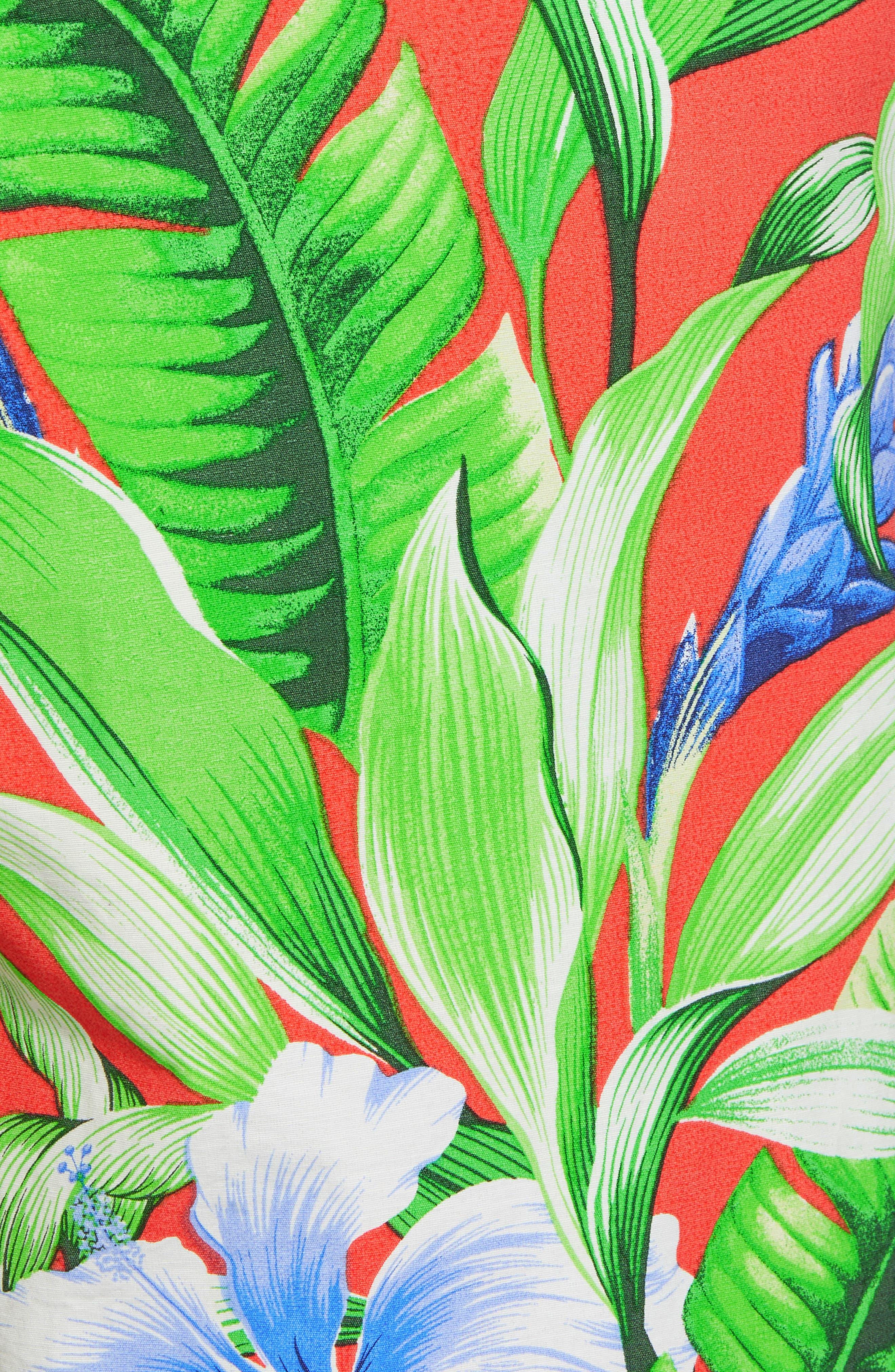 Baja Tulum Bloom Board Shorts,                             Alternate thumbnail 5, color,                             Fire Orange