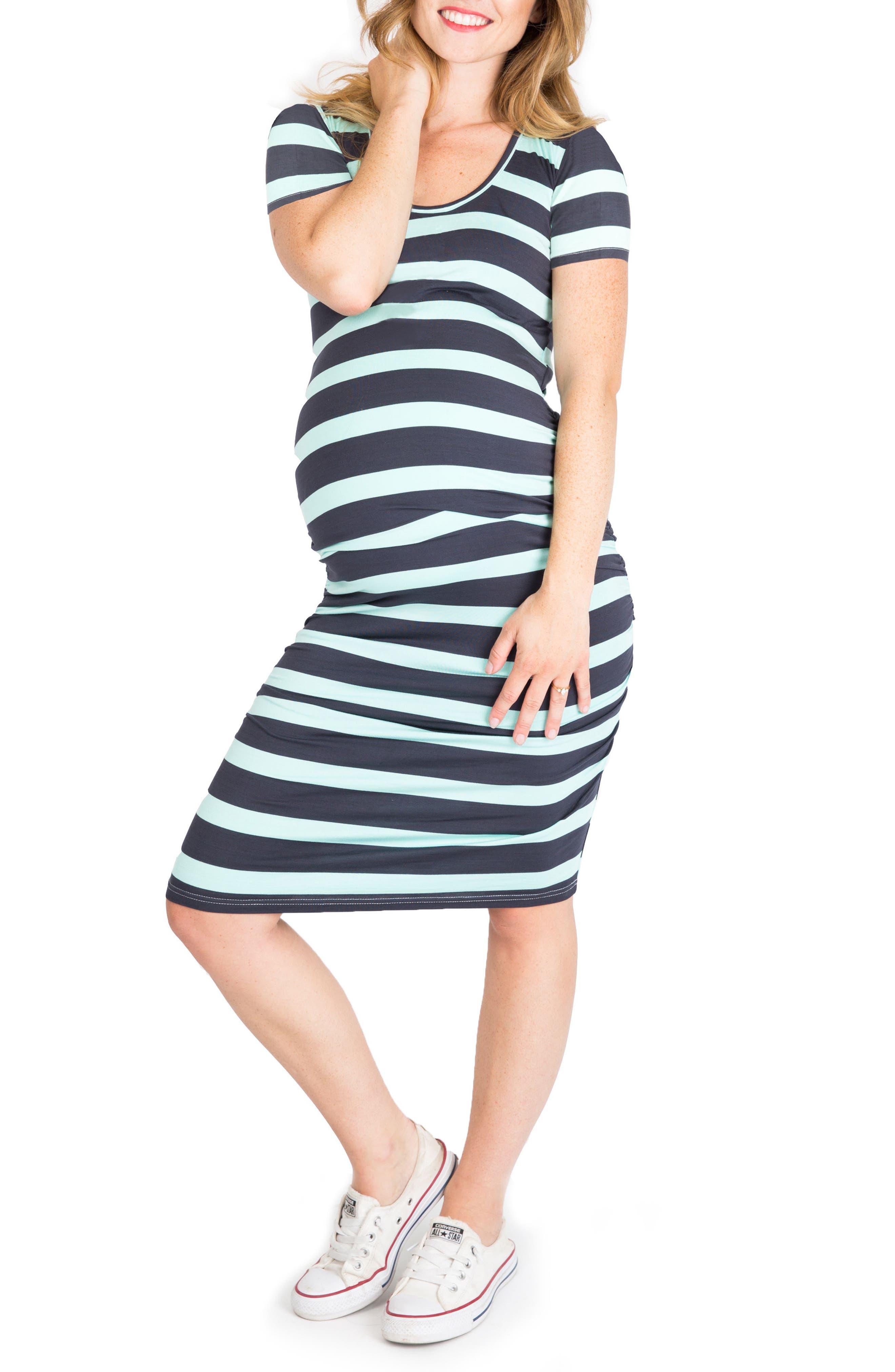 'Hailey' Maternity Dress,                         Main,                         color, Mint/ Slate Stripe