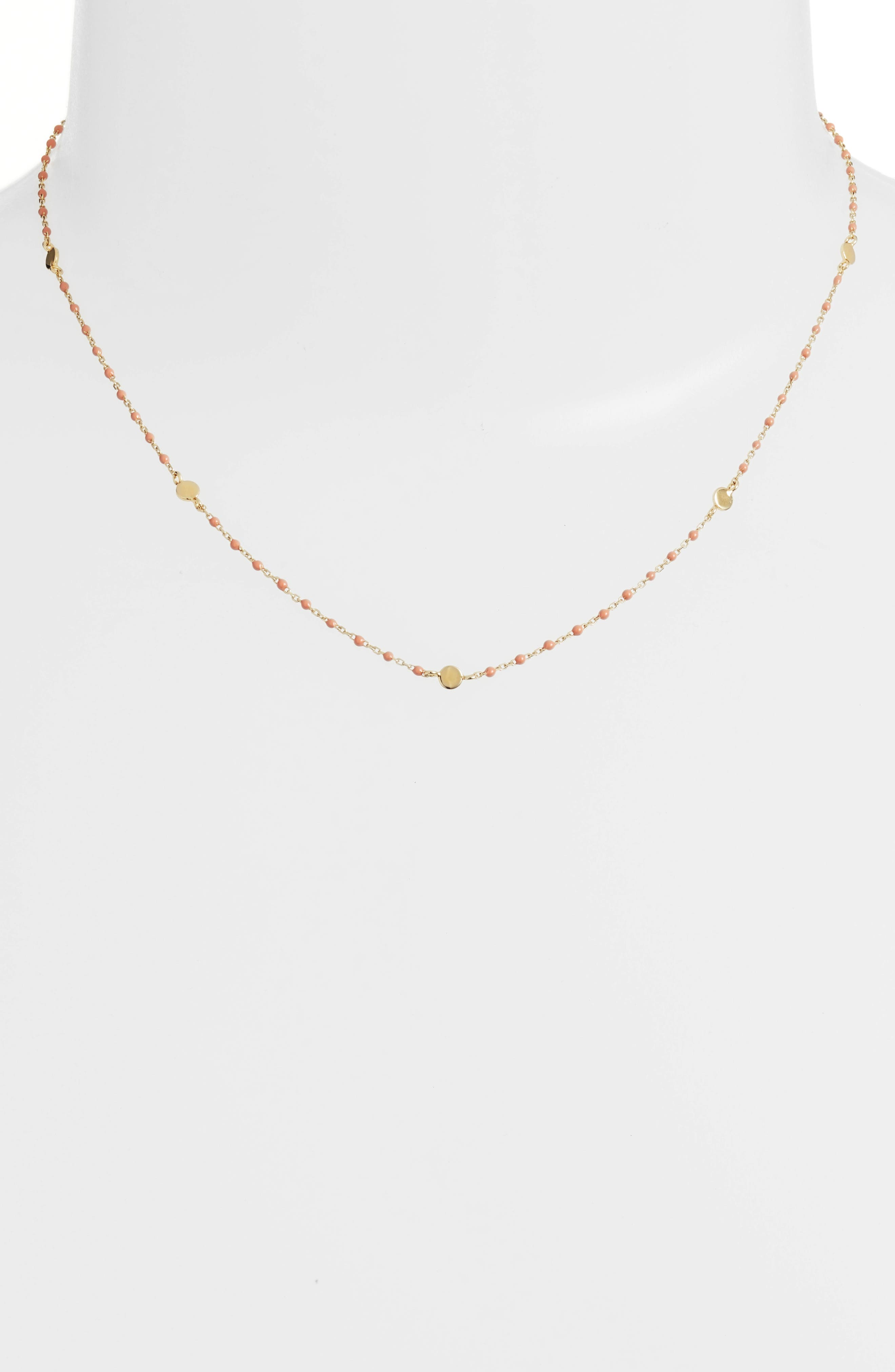 Beaded Station Necklace,                             Main thumbnail 1, color,                             Gold/ Coral
