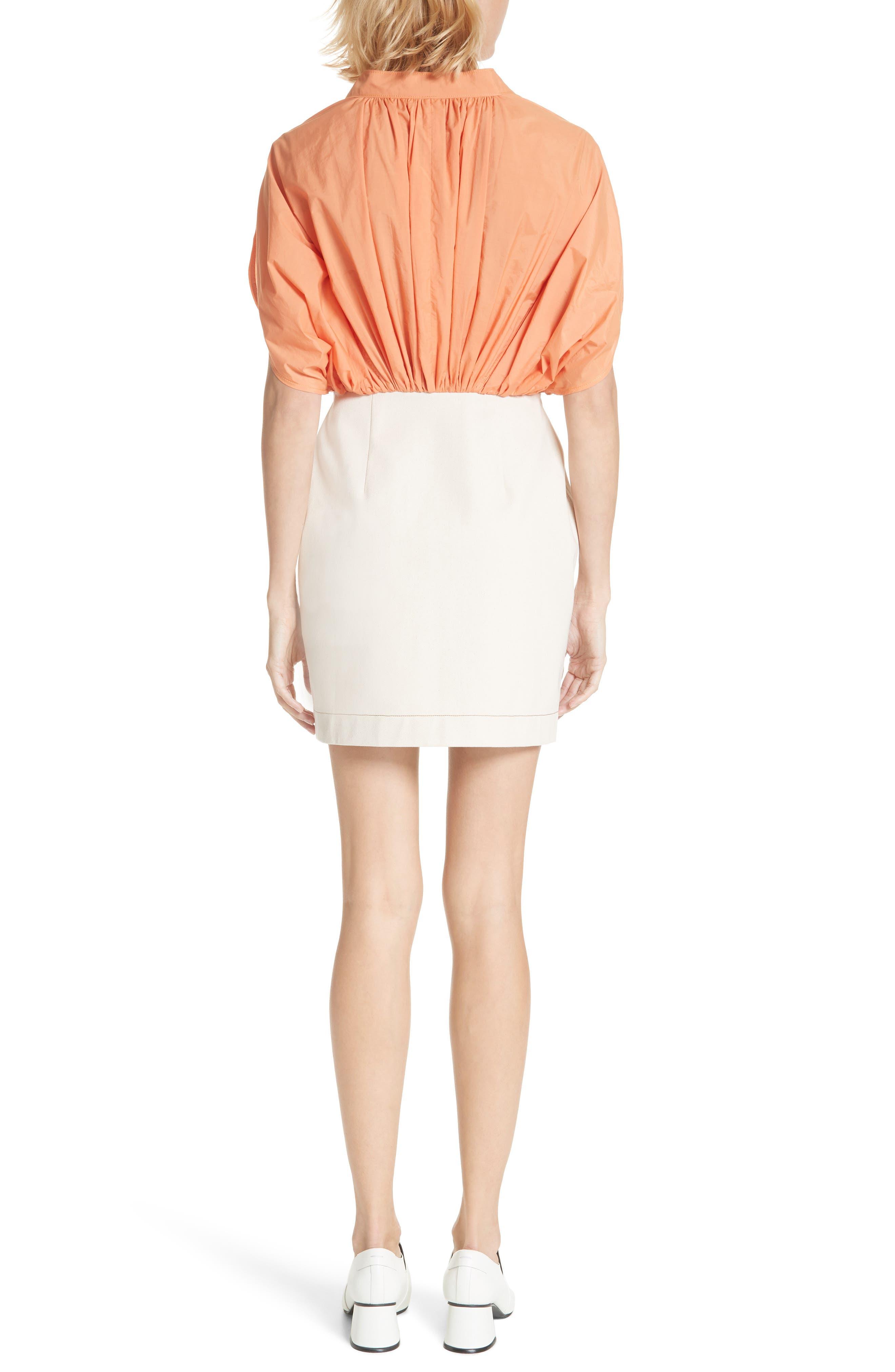Yana Bicolor Dress,                             Alternate thumbnail 2, color,                             Cotton Orange/ Denim Ecru