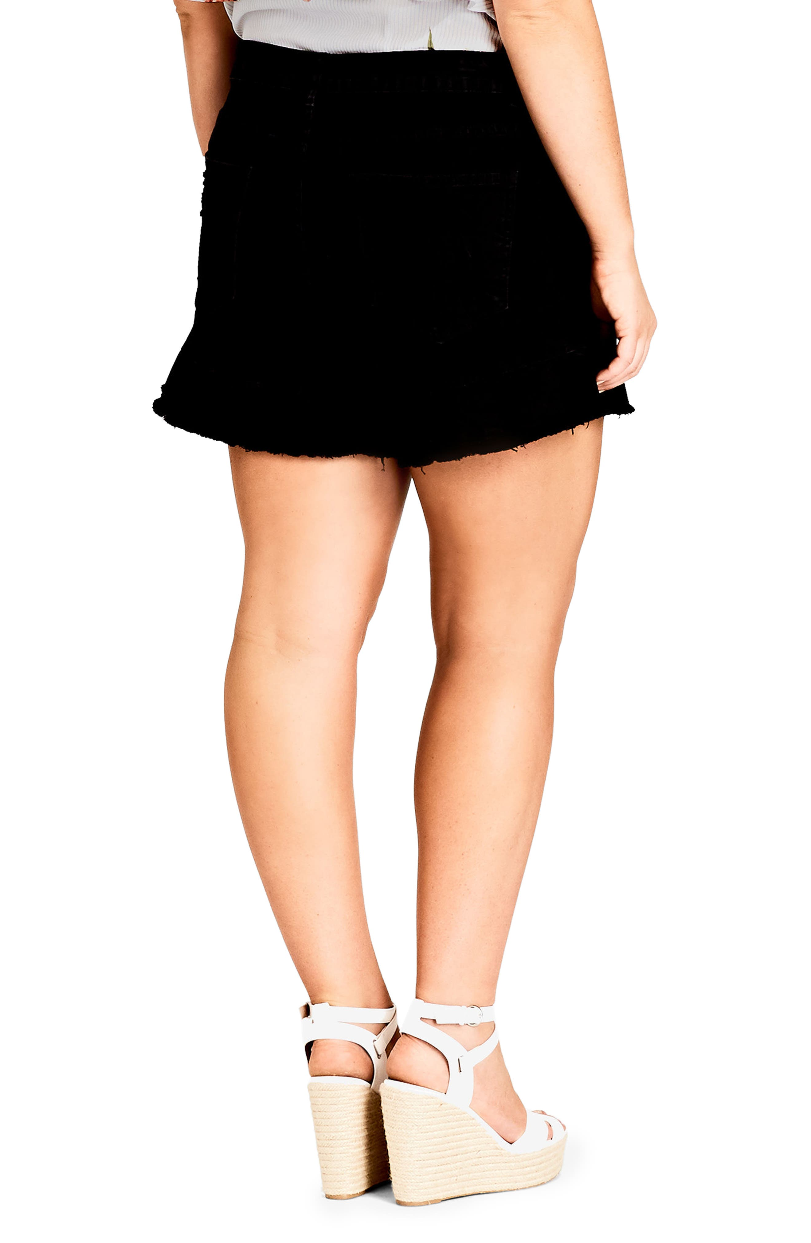 Flirty Frill Shorts,                             Alternate thumbnail 2, color,                             Black