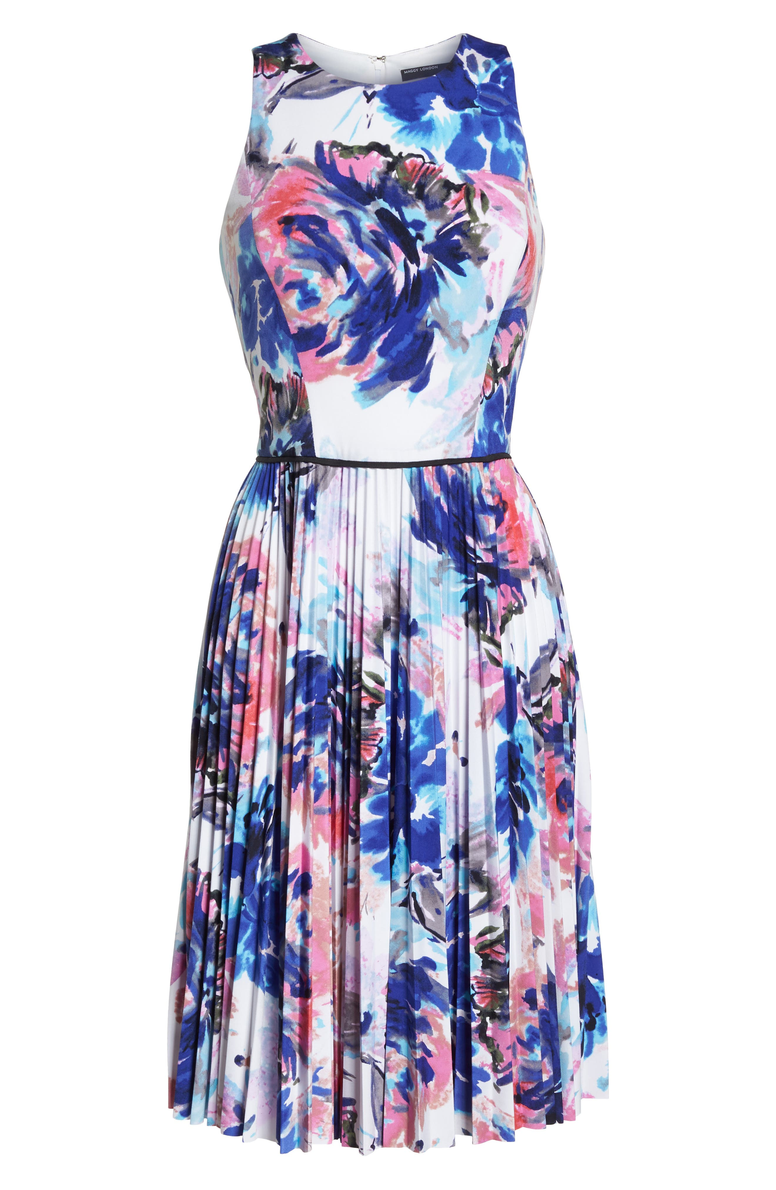 Floral Pleated Fit & Flare Dress,                             Alternate thumbnail 7, color,                             Soft White Royal