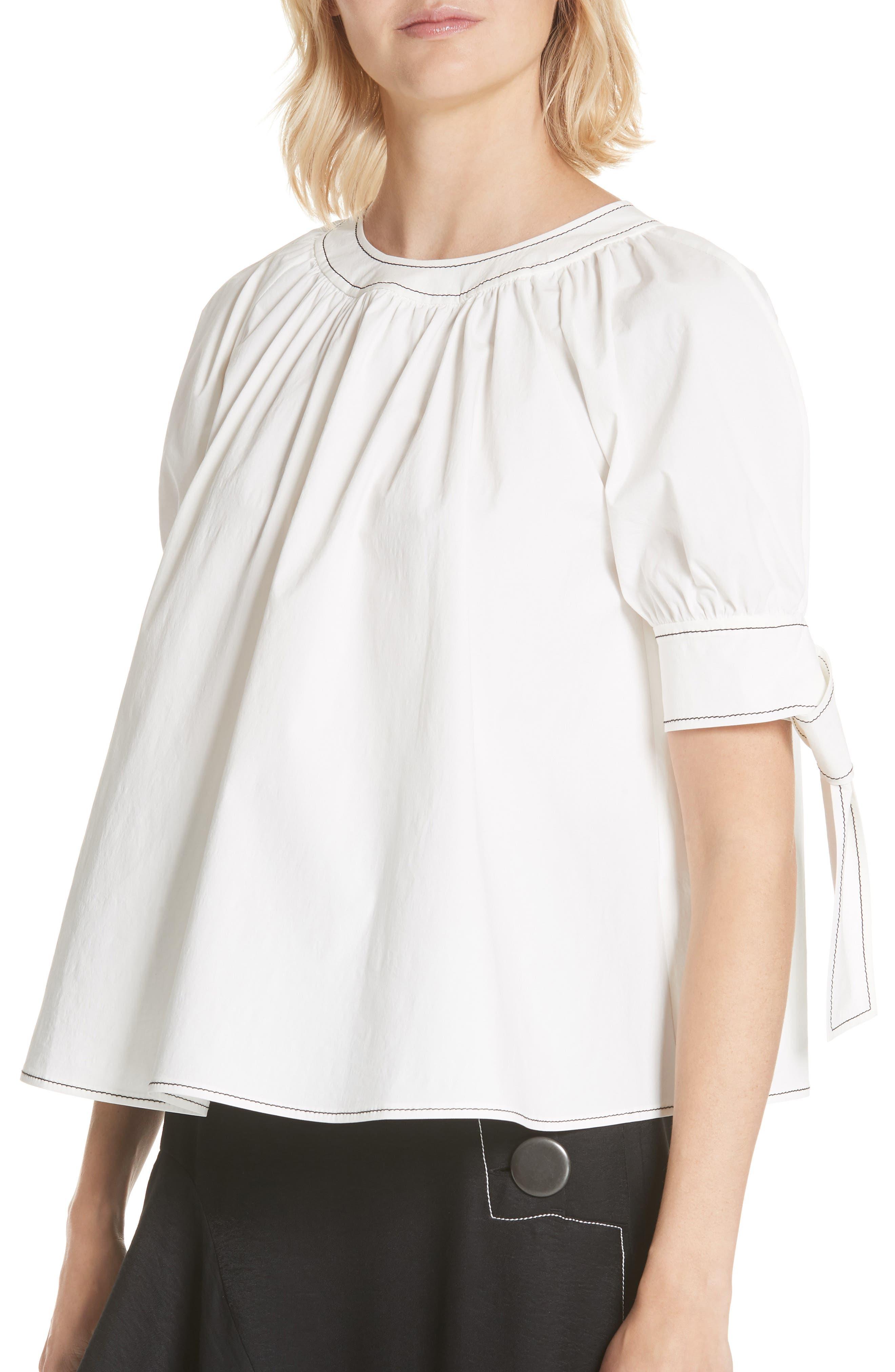 Hailey Short Sleeve Blouse Top,                             Alternate thumbnail 4, color,                             Cotton White