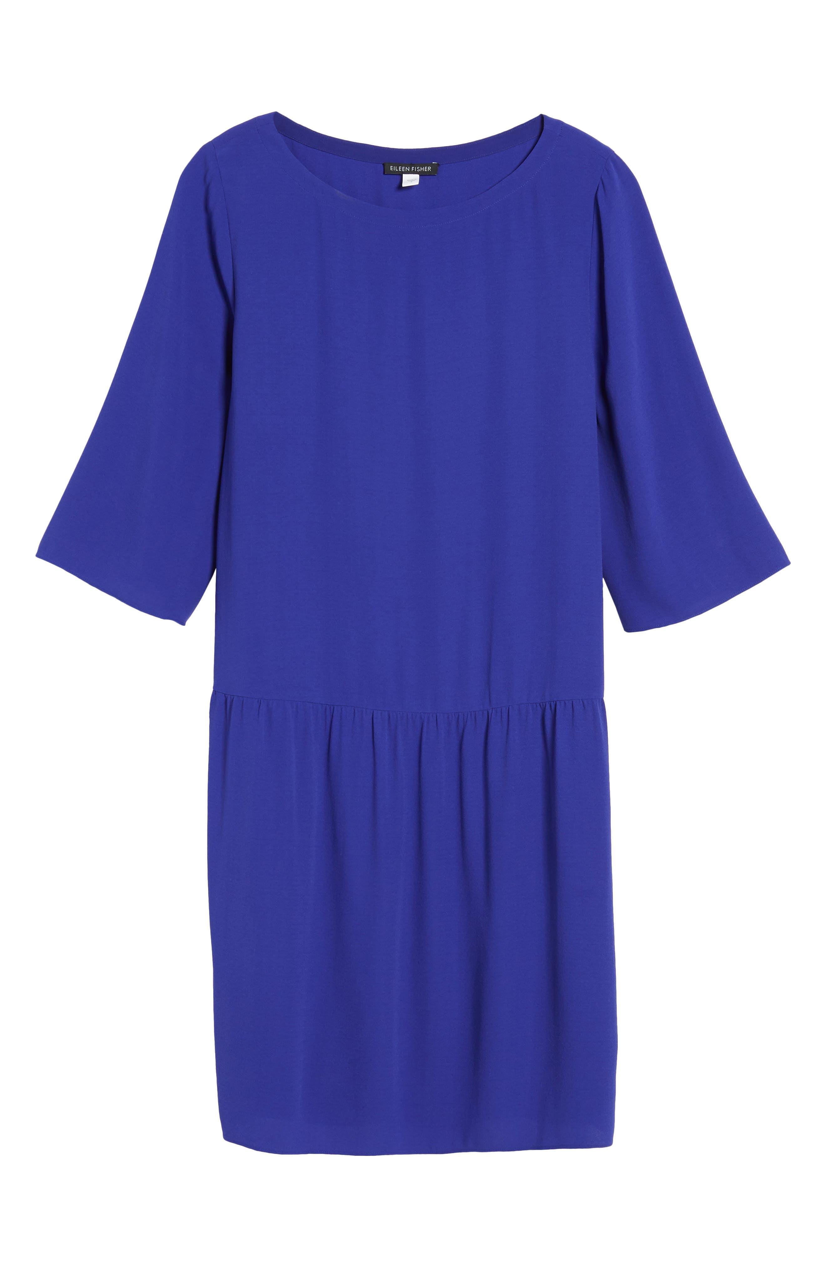 Drop Waist Silk Dress,                             Alternate thumbnail 7, color,                             Blue Violet