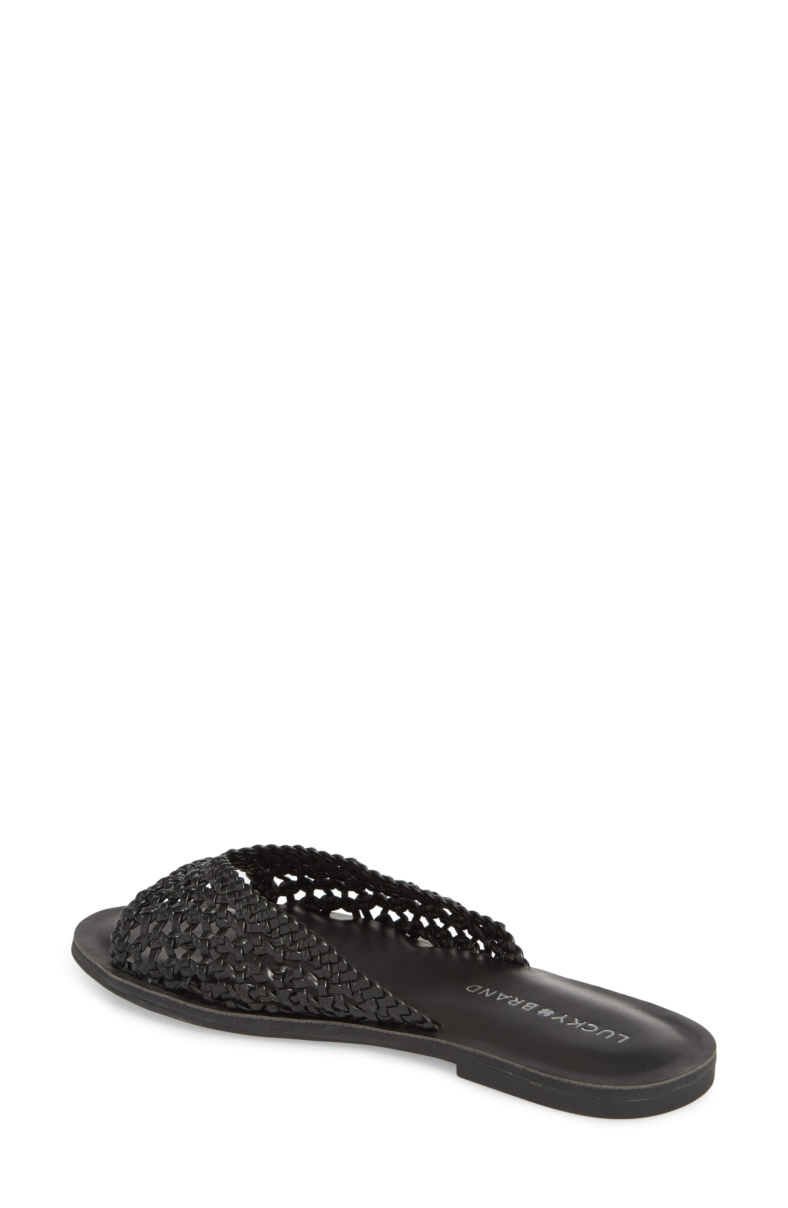 Adola Slide Sandal,                             Alternate thumbnail 2, color,                             Black Leather