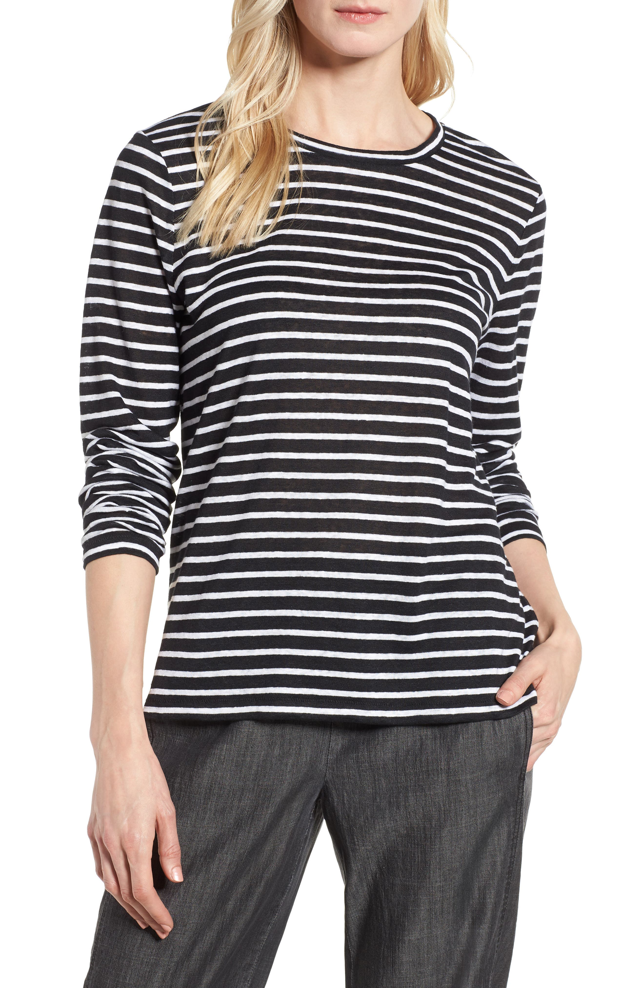 Stripe Organic Linen Top,                             Main thumbnail 1, color,                             Black/ White