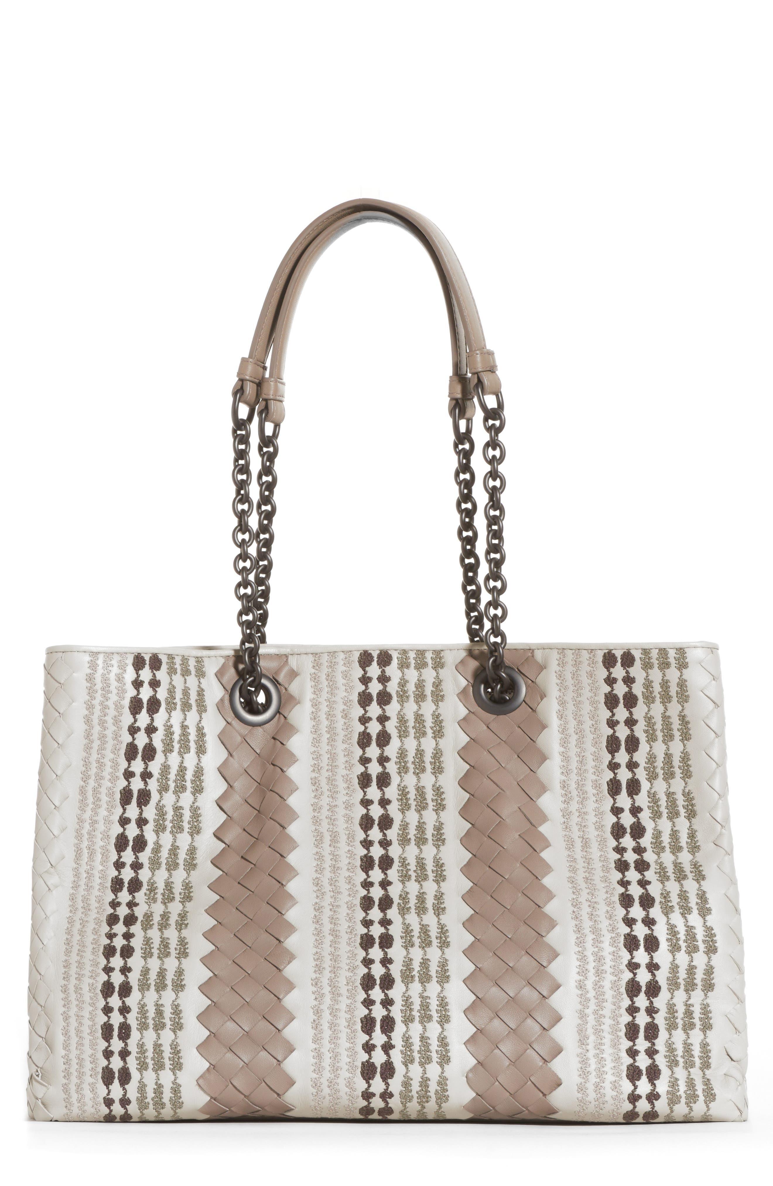 Bottega Veneta Appia Embroidered Leather Tote Bag