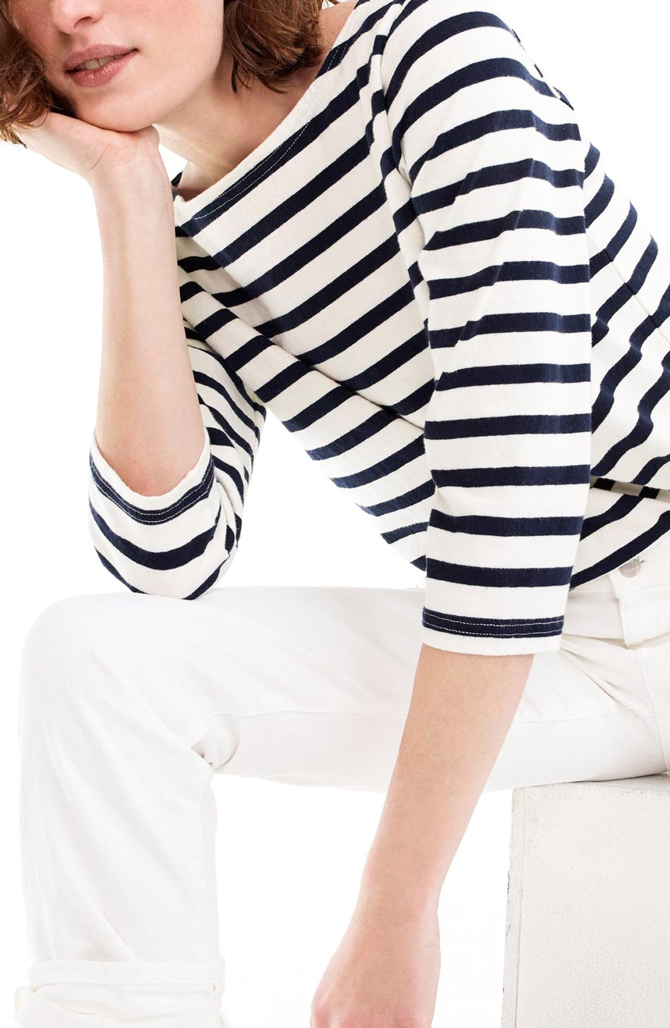 J.Crew Structured Stripe Tee,                             Main thumbnail 1, color,                             Ivory Navy