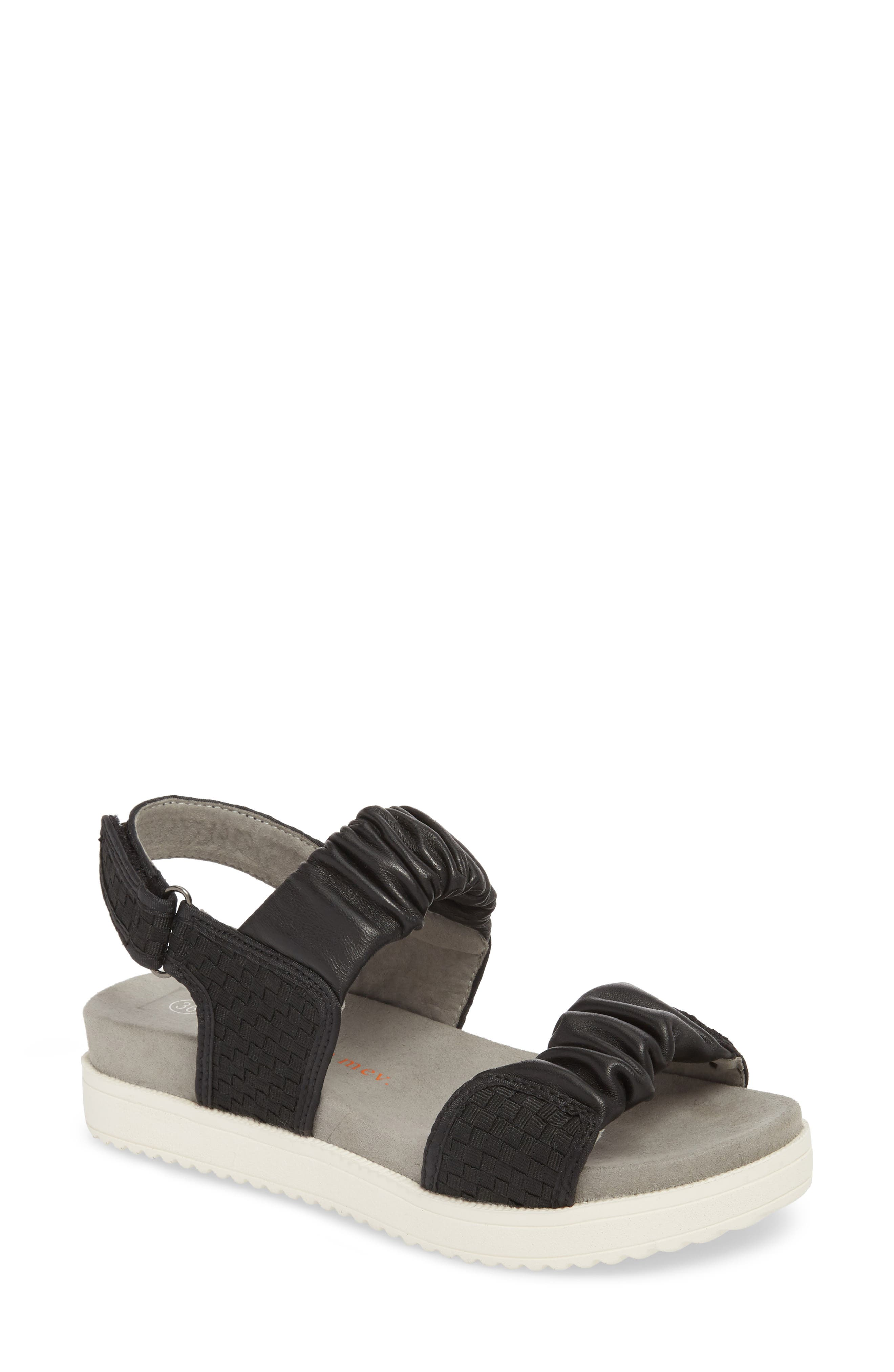 Fiji Sandal,                             Main thumbnail 1, color,                             Black/ Black Leather