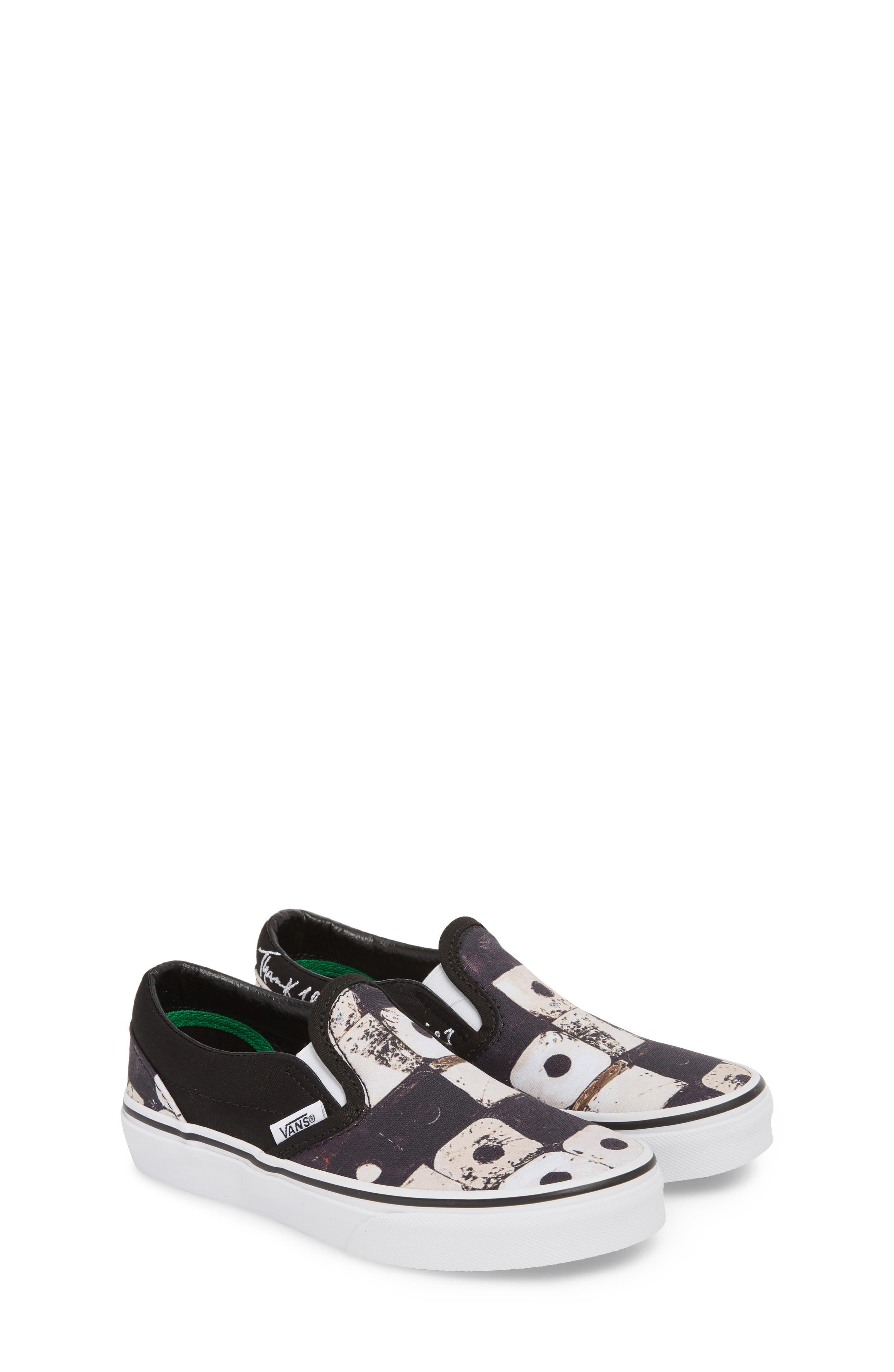 'Classic' Slip-On Sneaker,                             Alternate thumbnail 3, color,                             Black