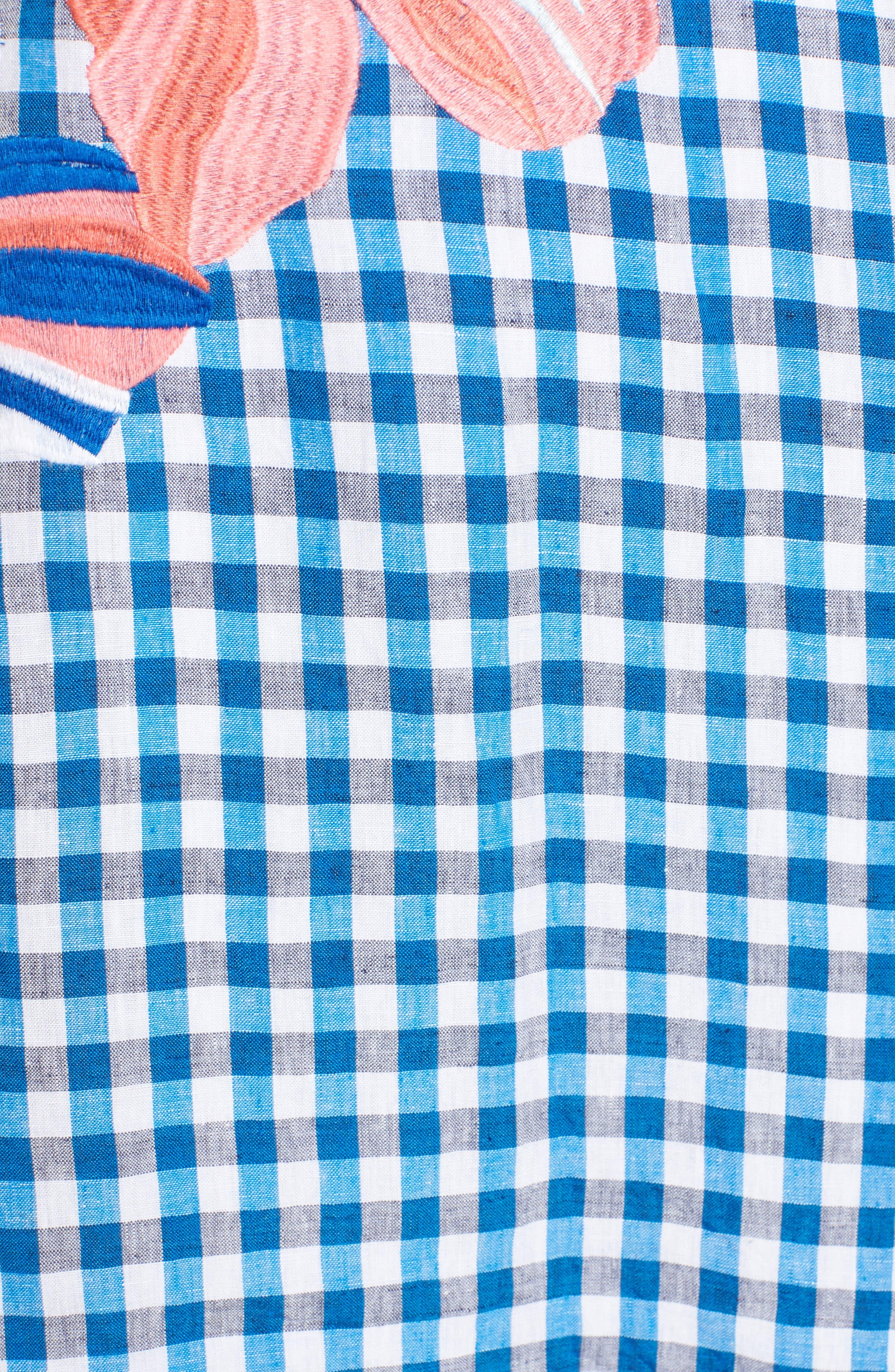 Gingham Shift Dress,                             Alternate thumbnail 6, color,                             Blue Aster