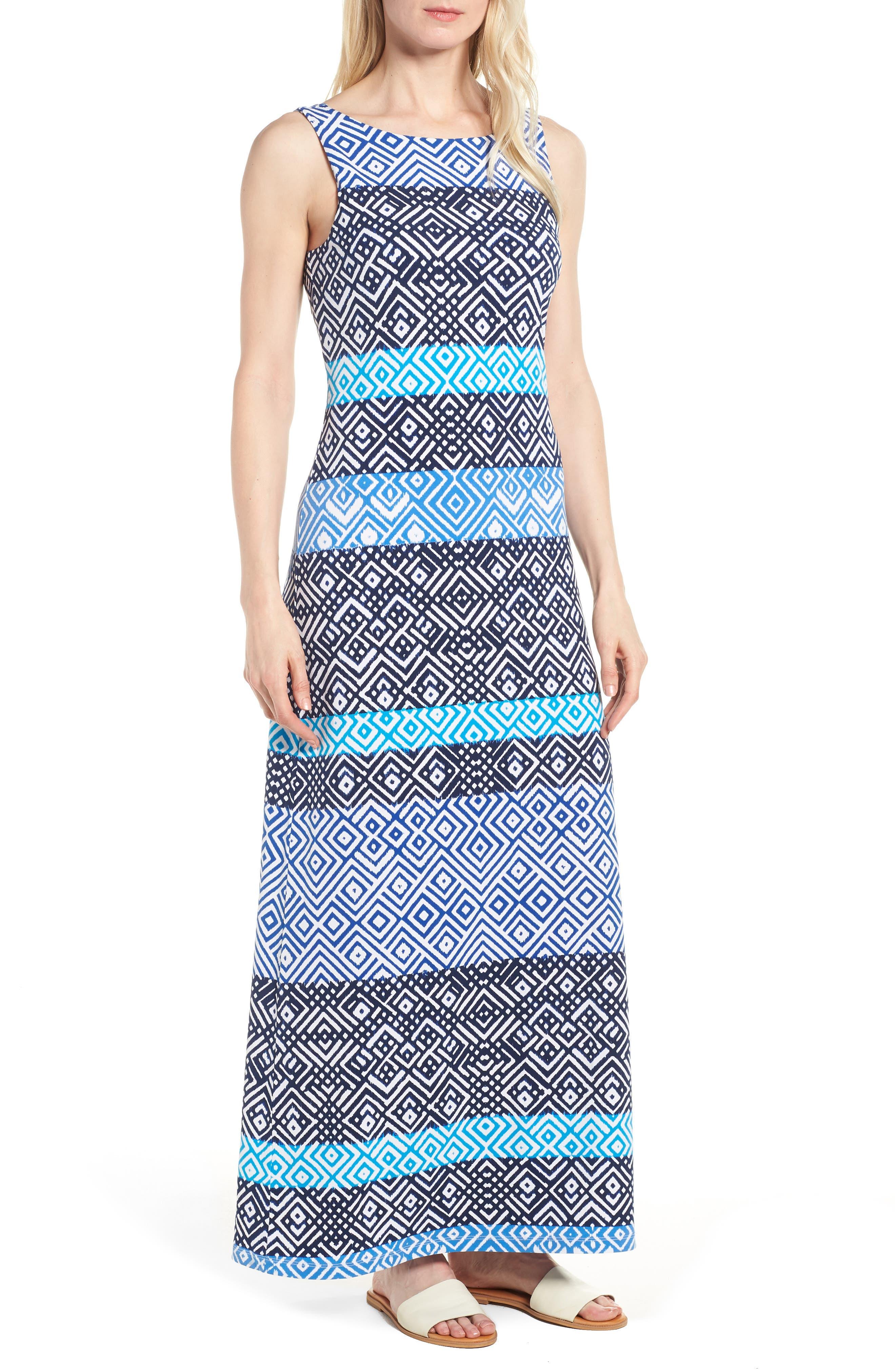Mayan Maze Maxi Dress,                         Main,                         color, Ocean Deep