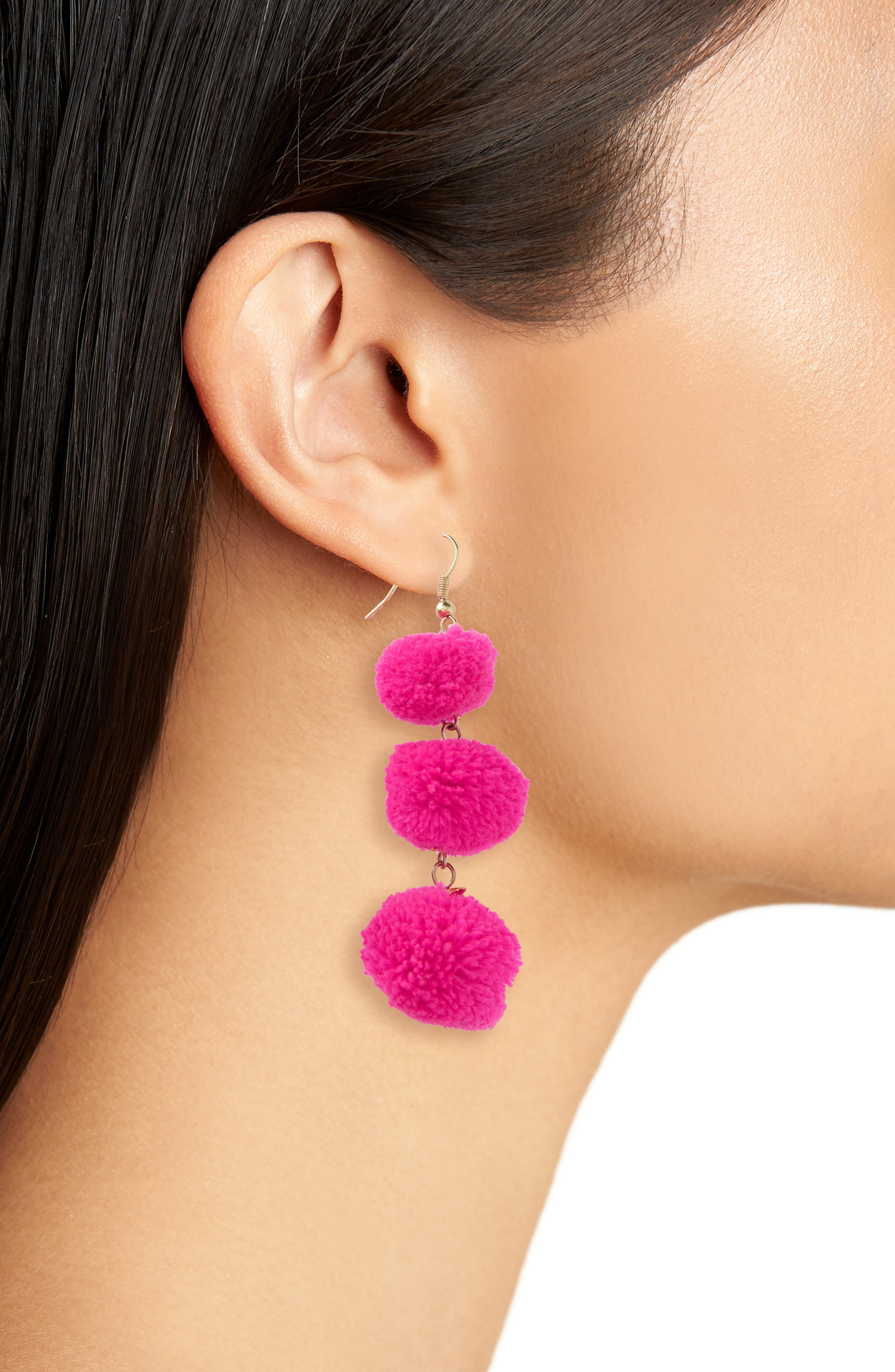 January Pom Earrings,                             Alternate thumbnail 2, color,                             Fuchsia