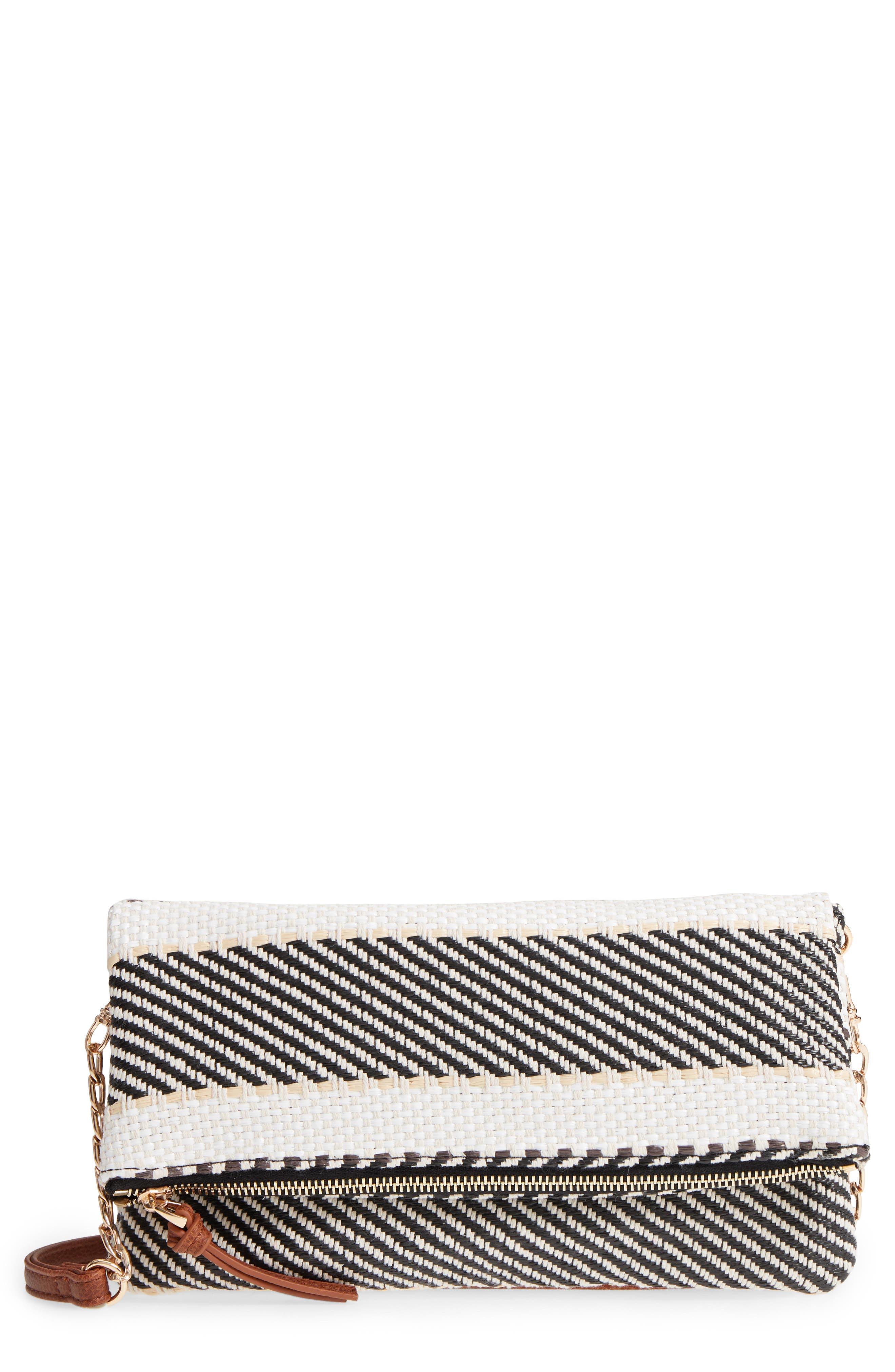 Medina Fabric Foldover Clutch,                             Main thumbnail 1, color,                             Black/ Cream Combo