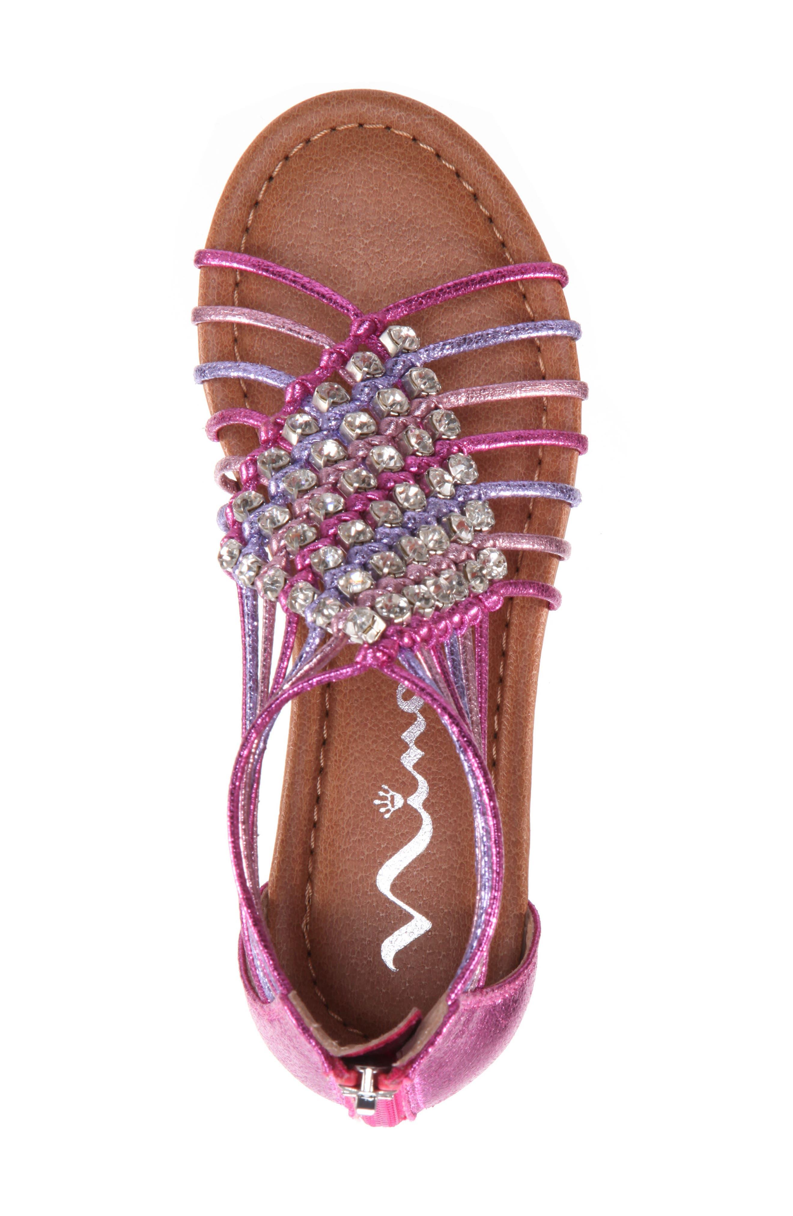 Karlee Embellished Sandal,                             Alternate thumbnail 5, color,                             Pink Multi Metallic Crackle