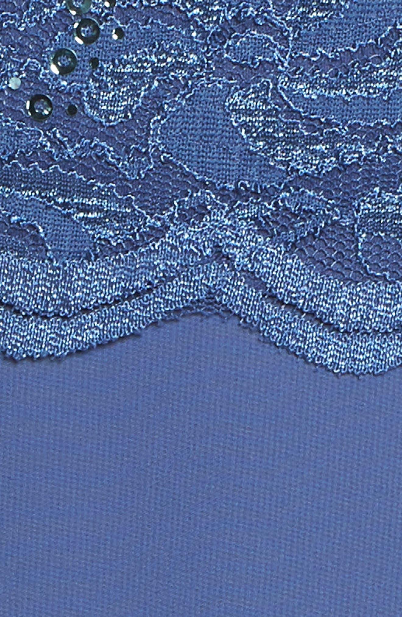 Mock Two-Piece Tea Length Dress,                             Alternate thumbnail 5, color,                             Wedgewood