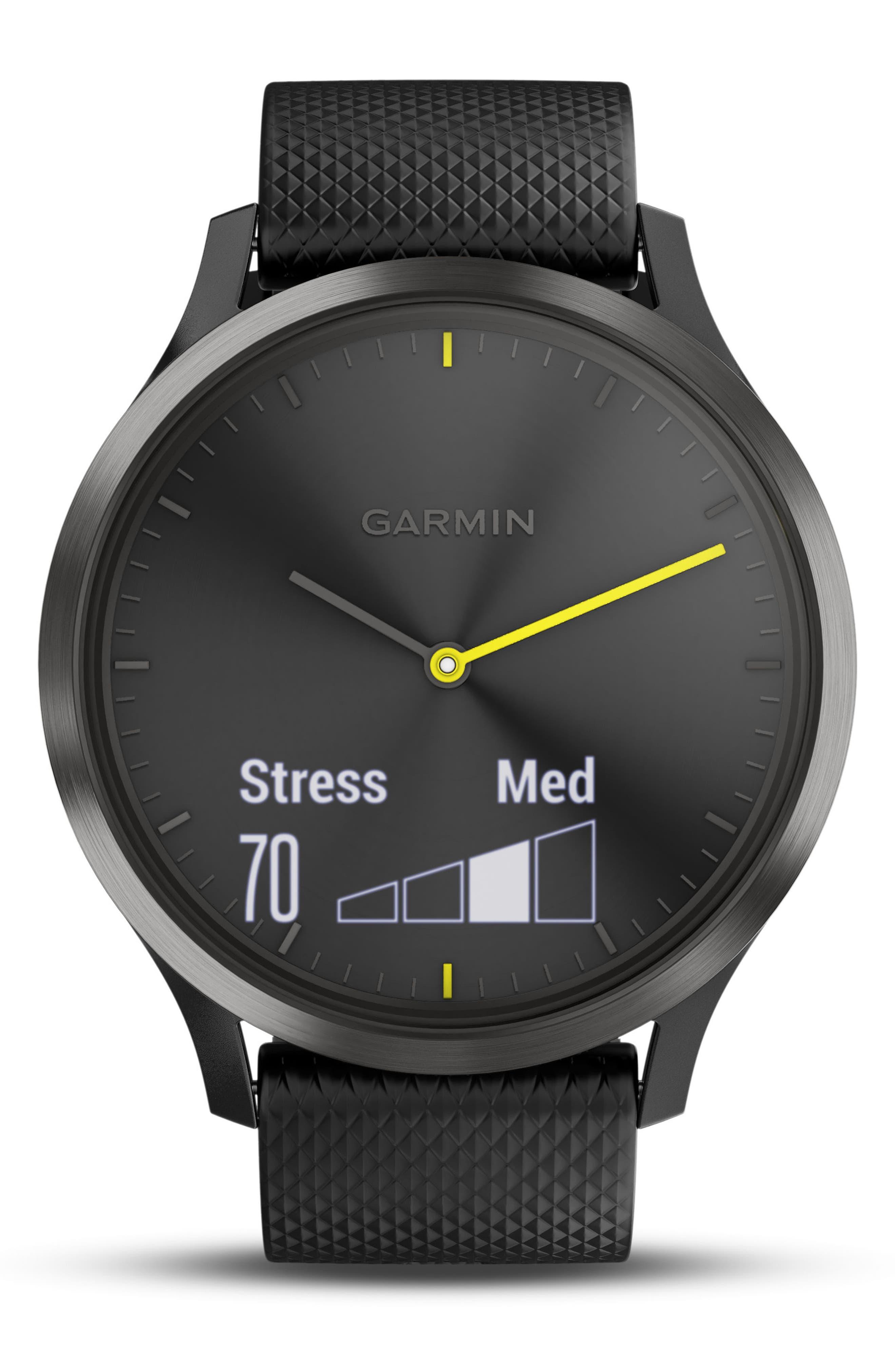 Vivomove HR Large Sport Hybrid Smart Watch,                             Alternate thumbnail 5, color,                             Black/ Black/ Black