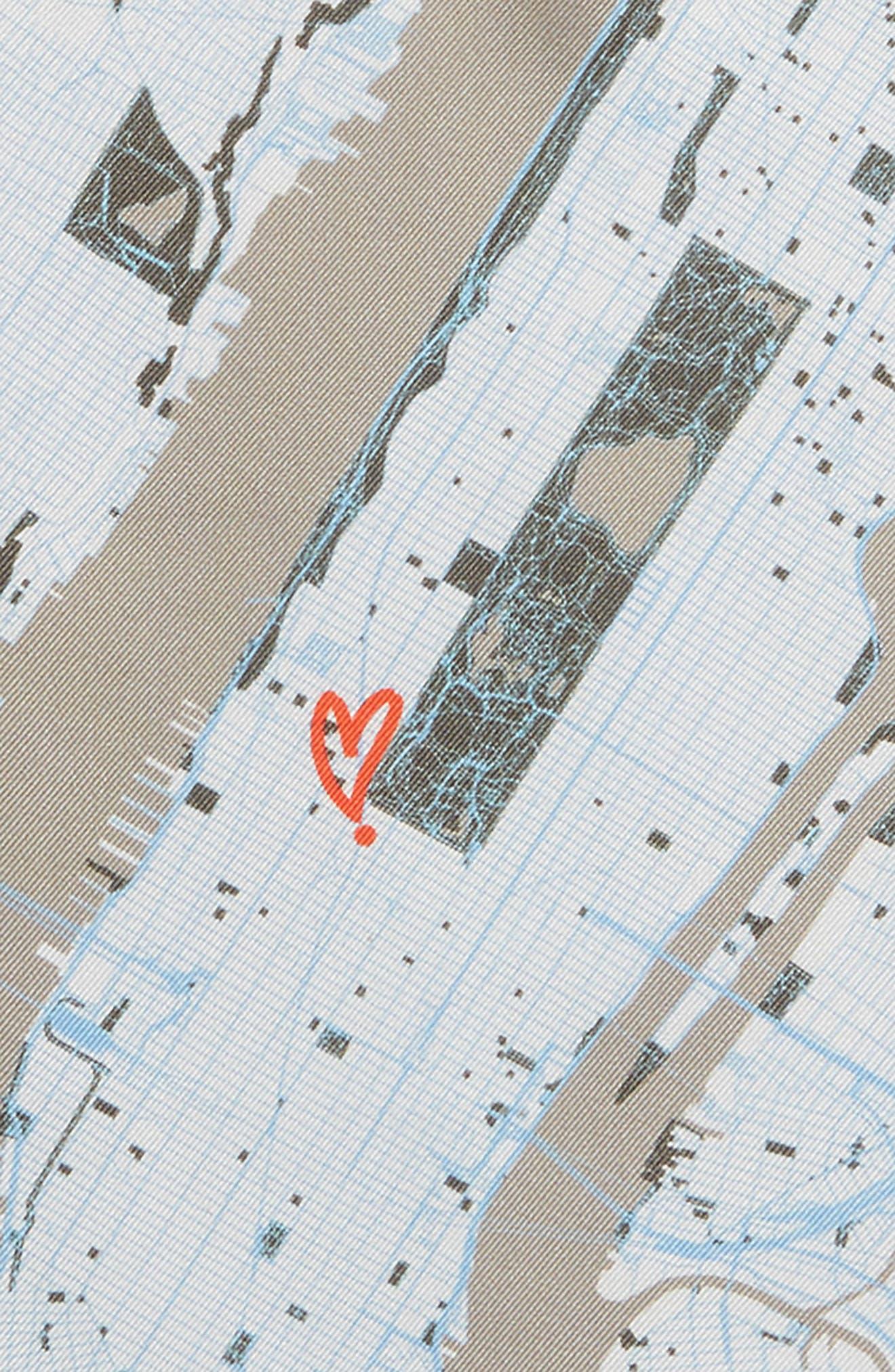 Subway Map Silk Pocket Square,                             Alternate thumbnail 3, color,                             Grey