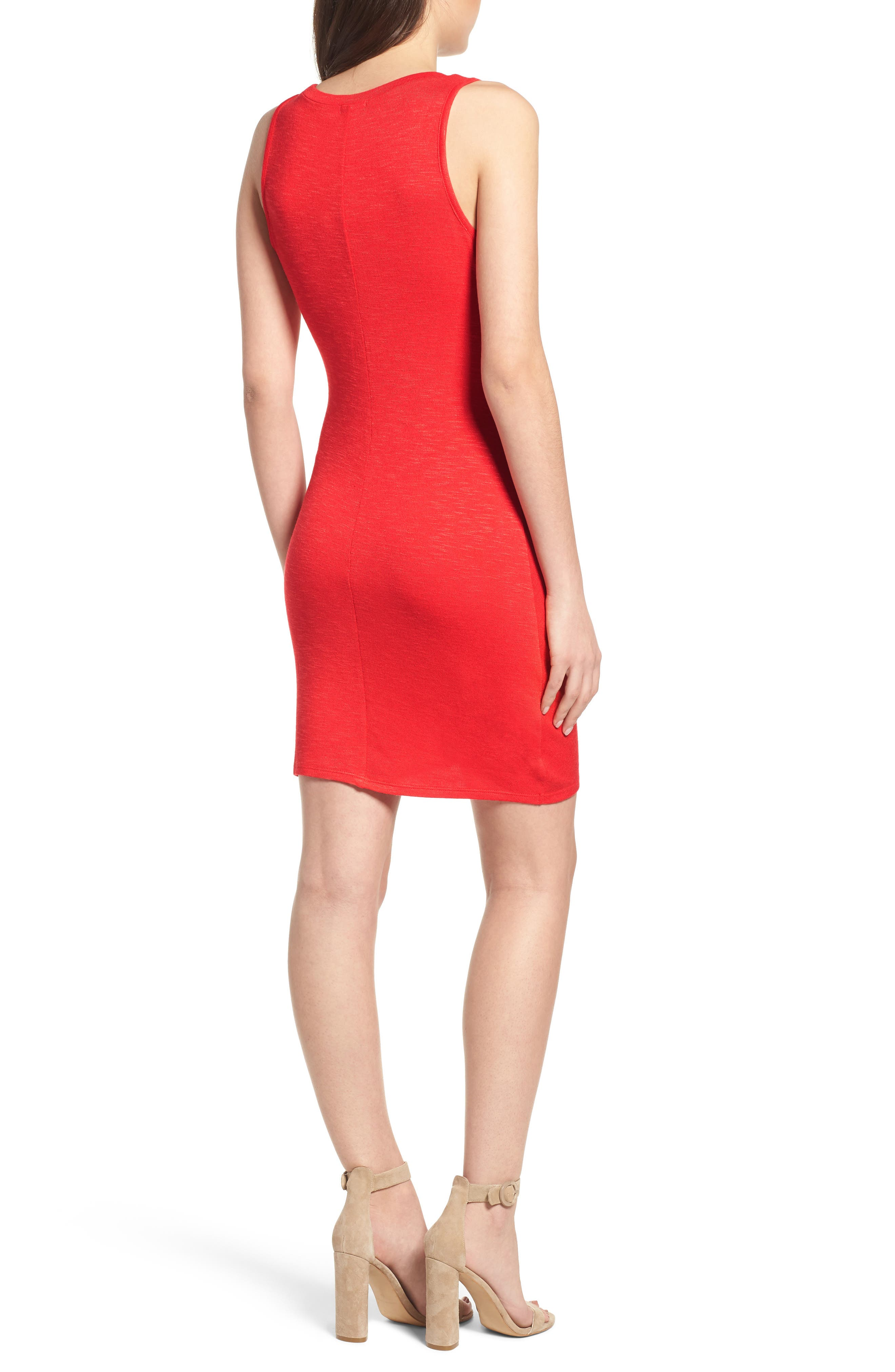 Ruched Minidress,                             Alternate thumbnail 2, color,                             Red