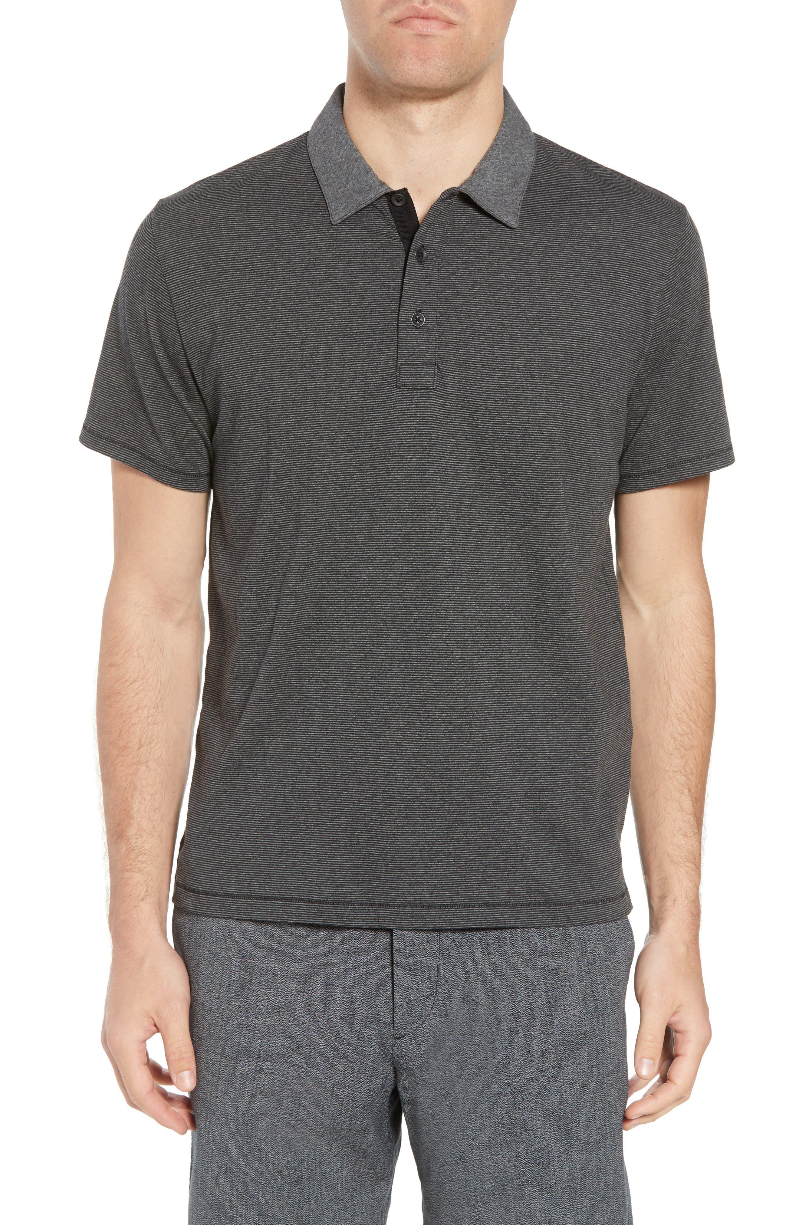 Stripe Cotton Polo Shirt,                             Main thumbnail 1, color,                             Charcoal/ Black