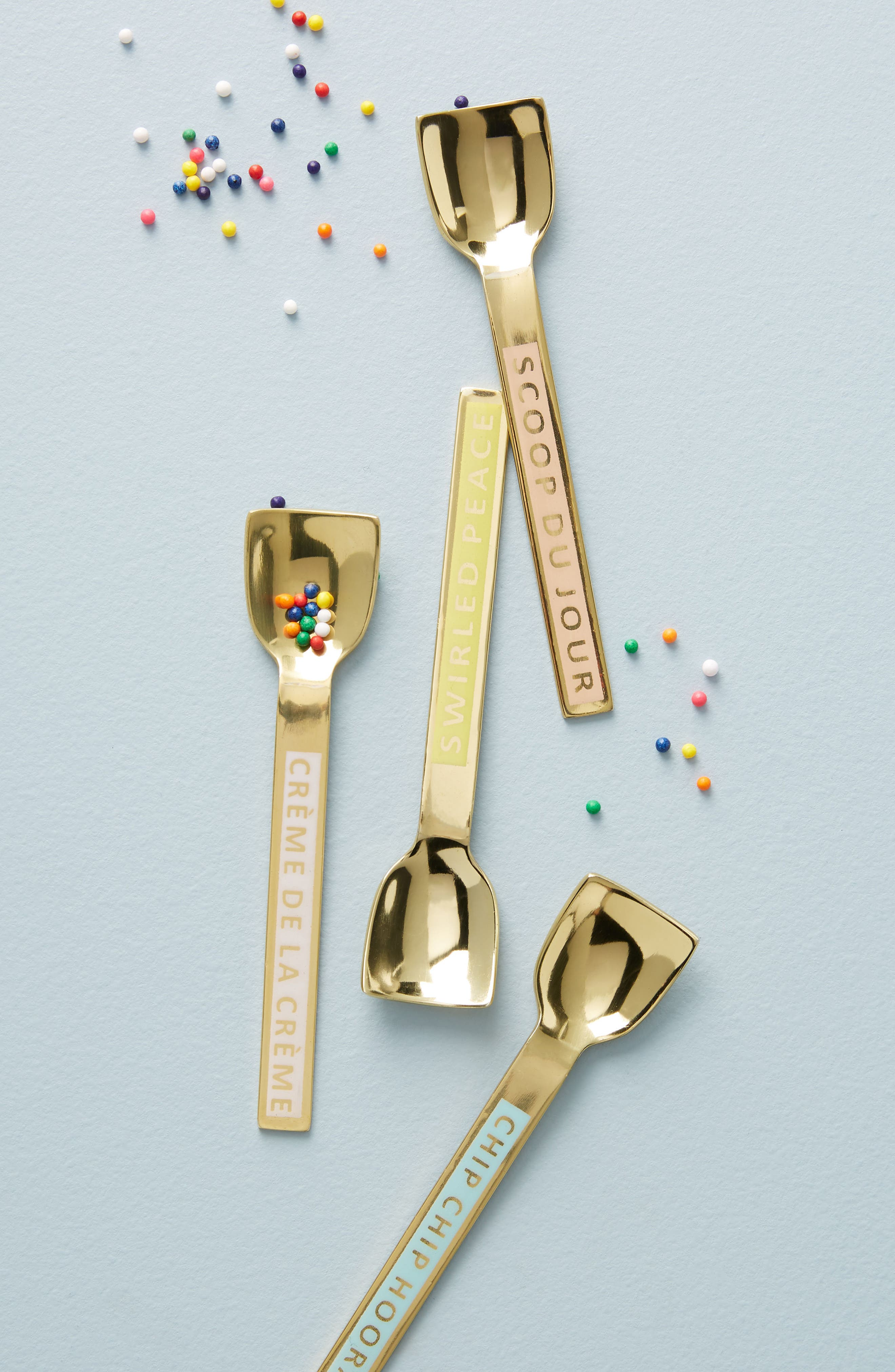 Sweet Treat Set of 4 Ice Cream Spoons,                             Main thumbnail 1, color,                             Gold