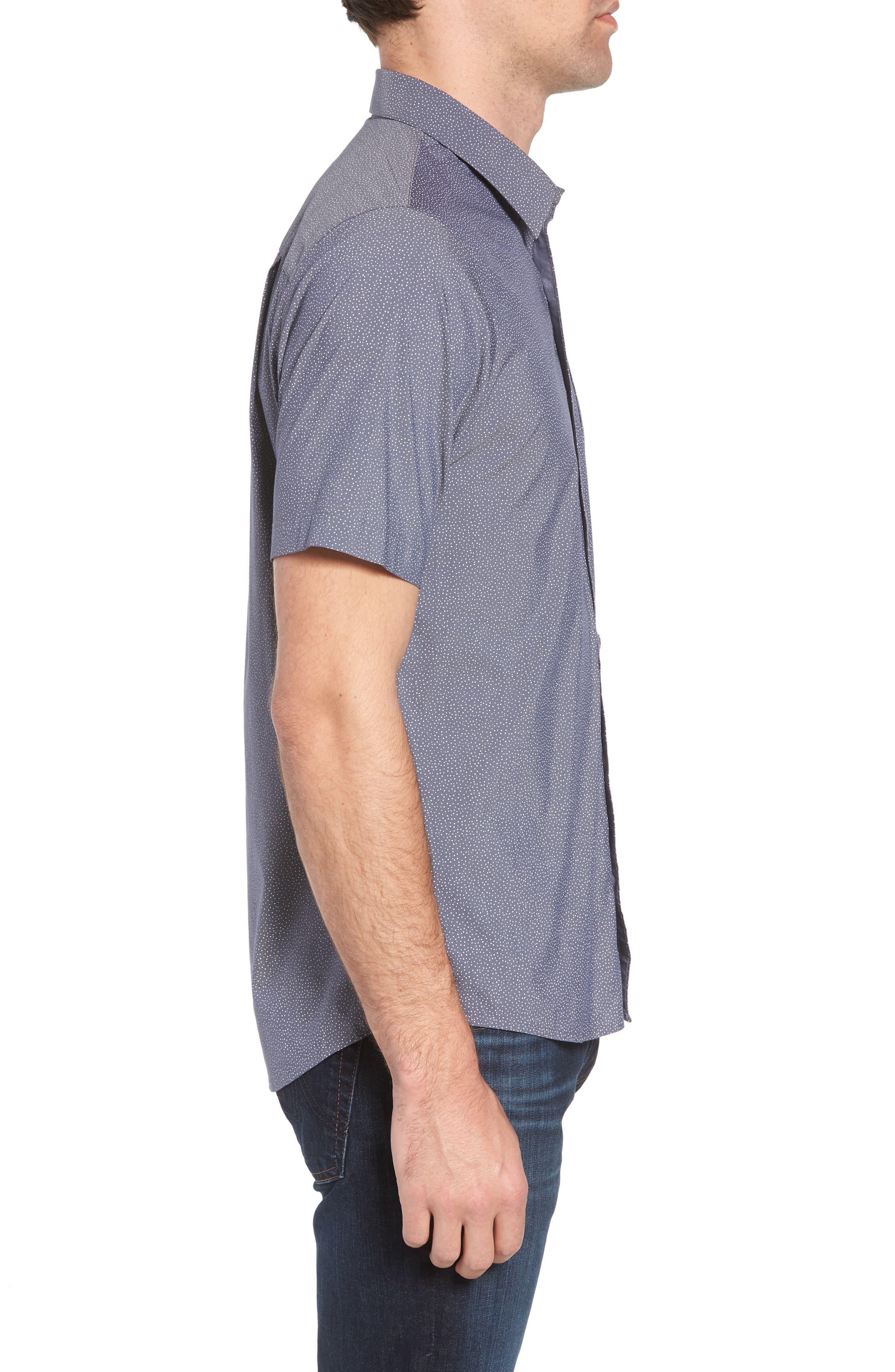 Particles Spot Print Sport Shirt,                             Alternate thumbnail 4, color,                             Blue Nights