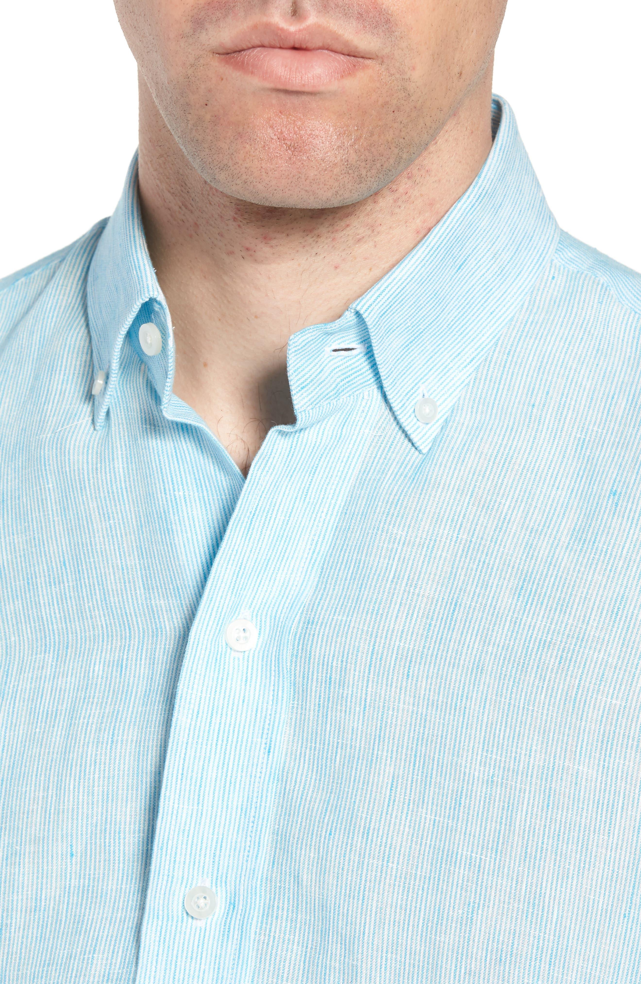 Willington Stripe Classic Fit Linen Sport Shirt,                             Alternate thumbnail 2, color,                             Pool Blue