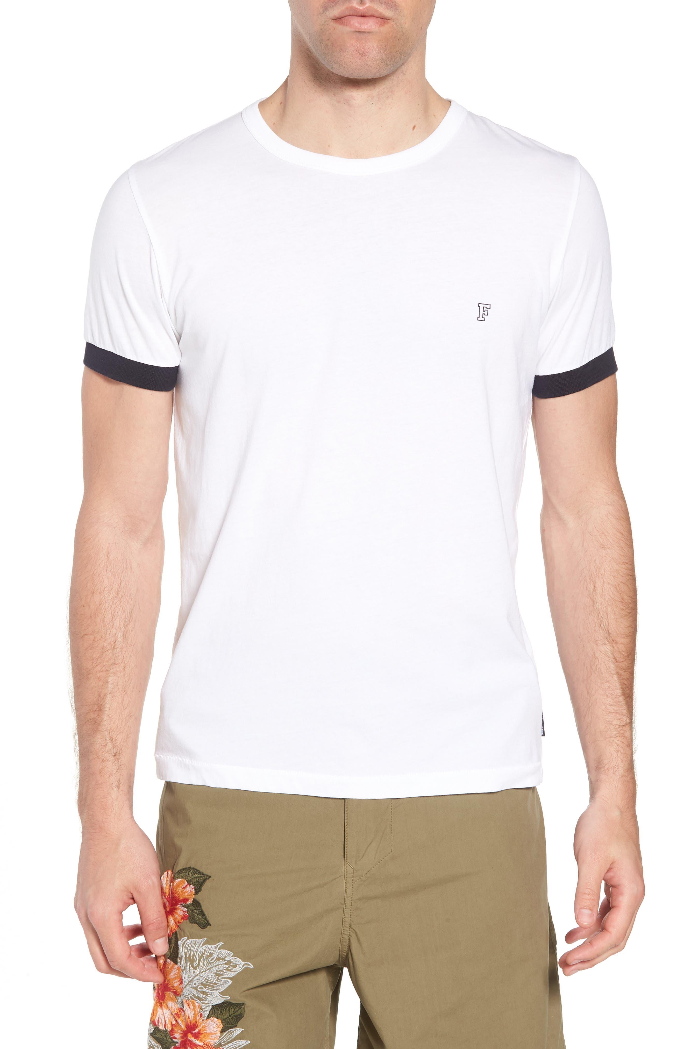 Summer Contrast Cuff T-Shirt,                             Main thumbnail 1, color,                             White Marine Blue