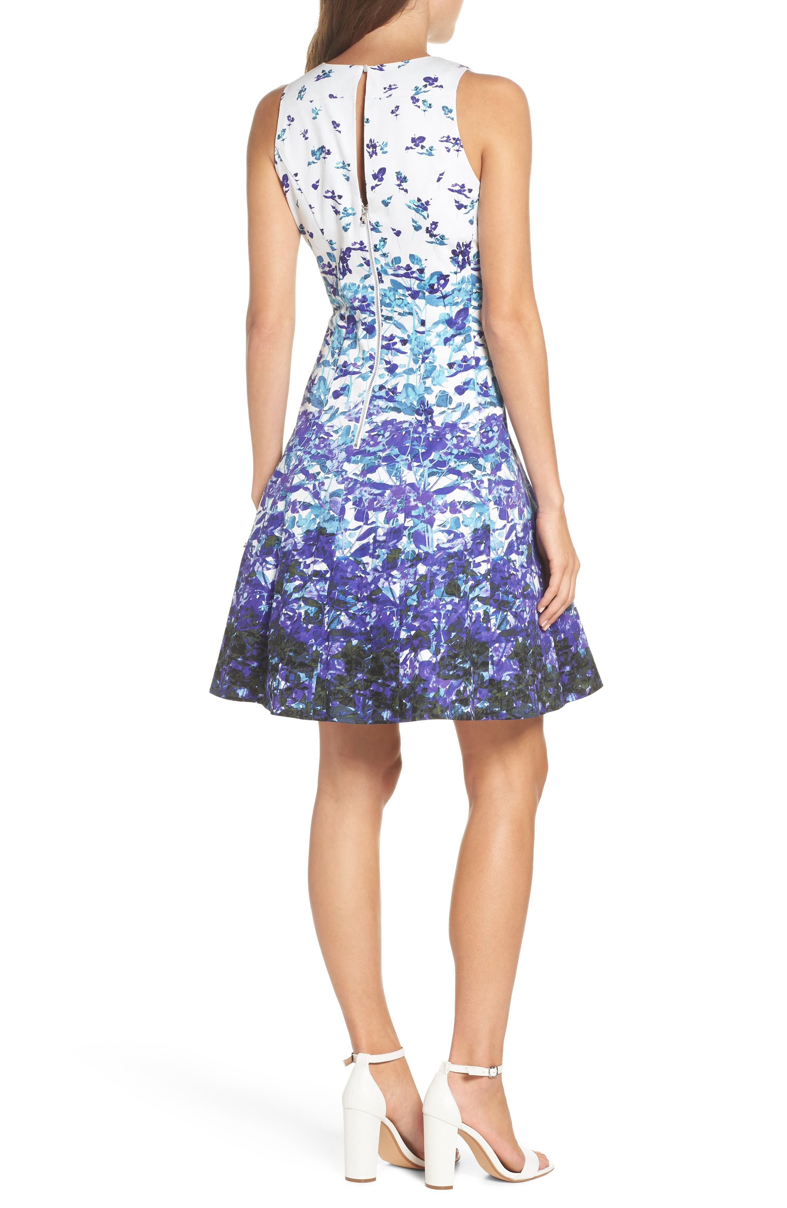Floral Sateen Fit & Flare Dress,                             Alternate thumbnail 2, color,                             Soft White/ Purple