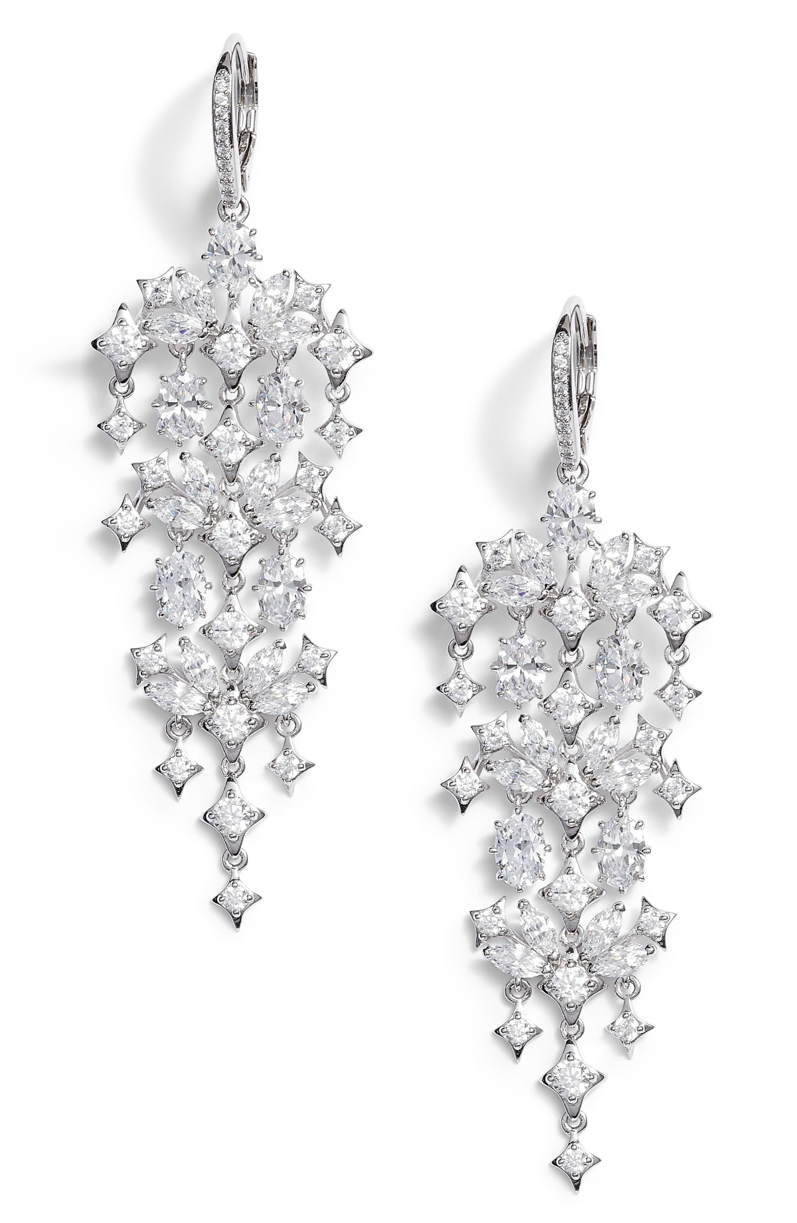 Boho Crystal Chandelier Earrings,                             Main thumbnail 1, color,                             Silver/ Clear
