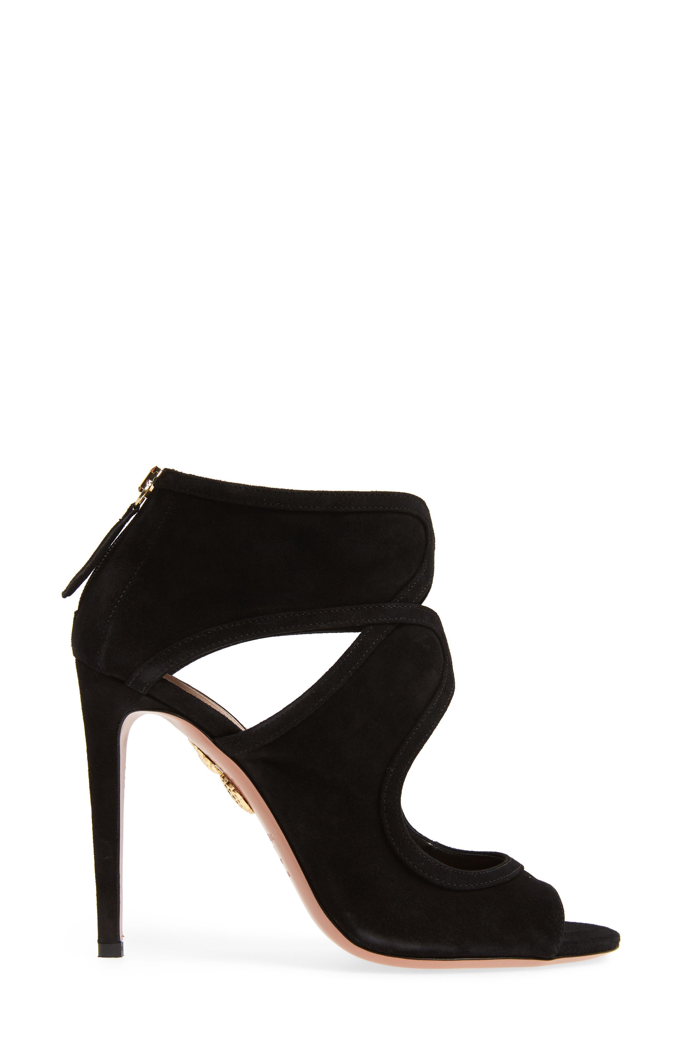 Antonia Cutout Shield Sandal,                             Alternate thumbnail 3, color,                             Black