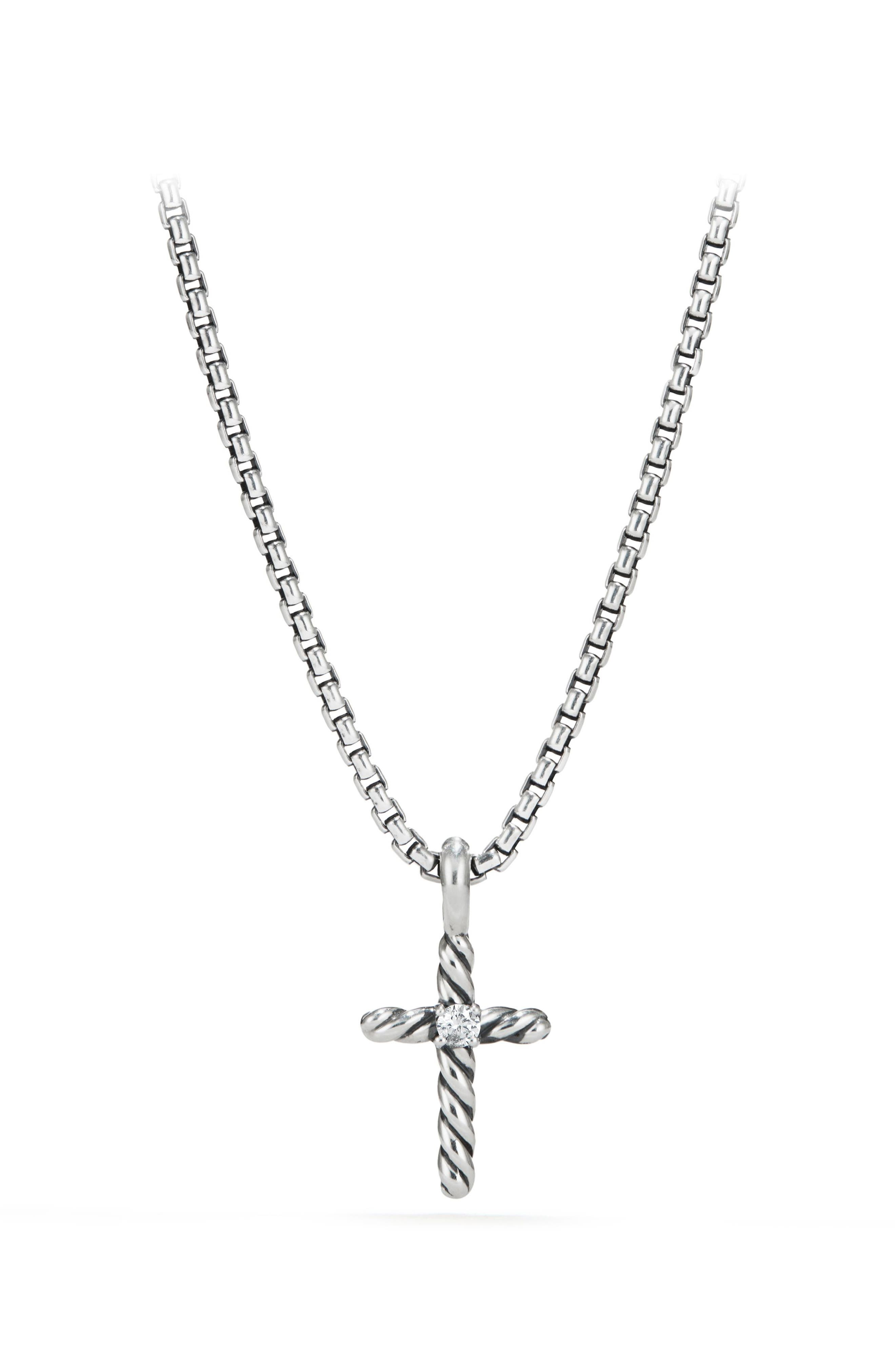 Cable Collectibles<sup>®</sup> Kids' Cross Necklace with Diamonds,                             Main thumbnail 1, color,                             Diamond