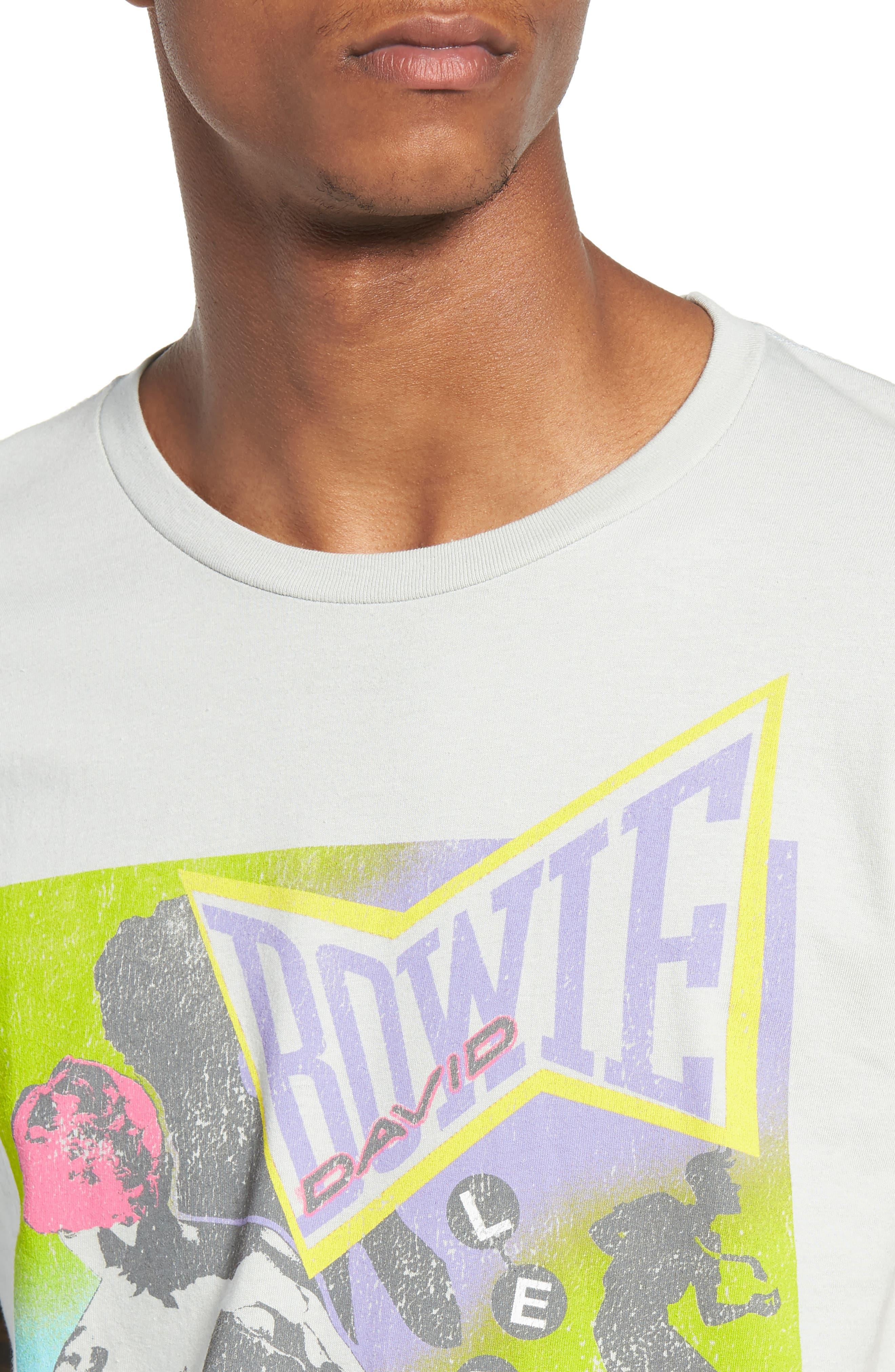 Neon David Bowie T-Shirt,                             Alternate thumbnail 4, color,                             Grey Bowie Dance