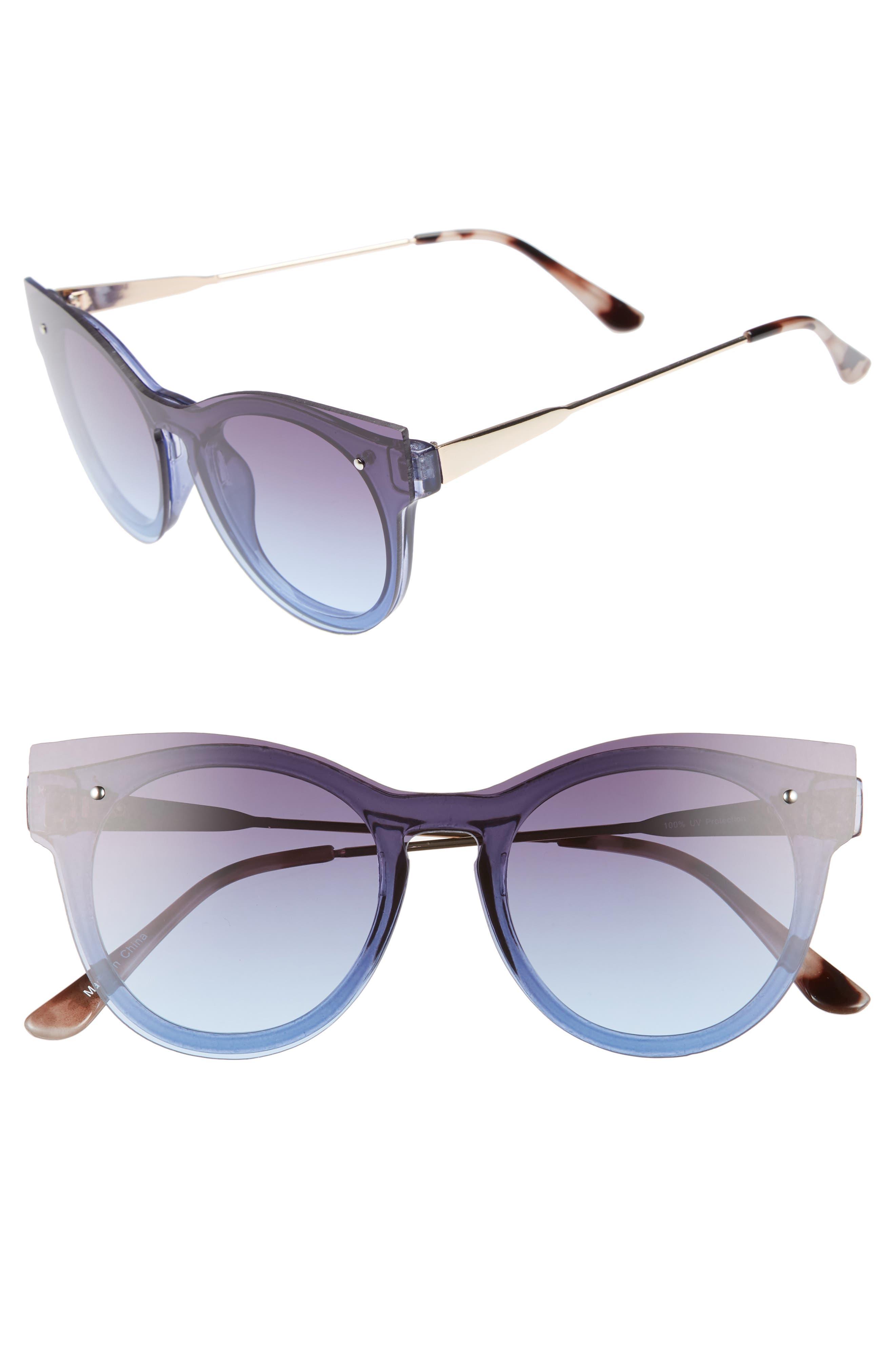 51mm Flat Cat Eye Sunglasses,                             Main thumbnail 1, color,                             Gold/ Blue