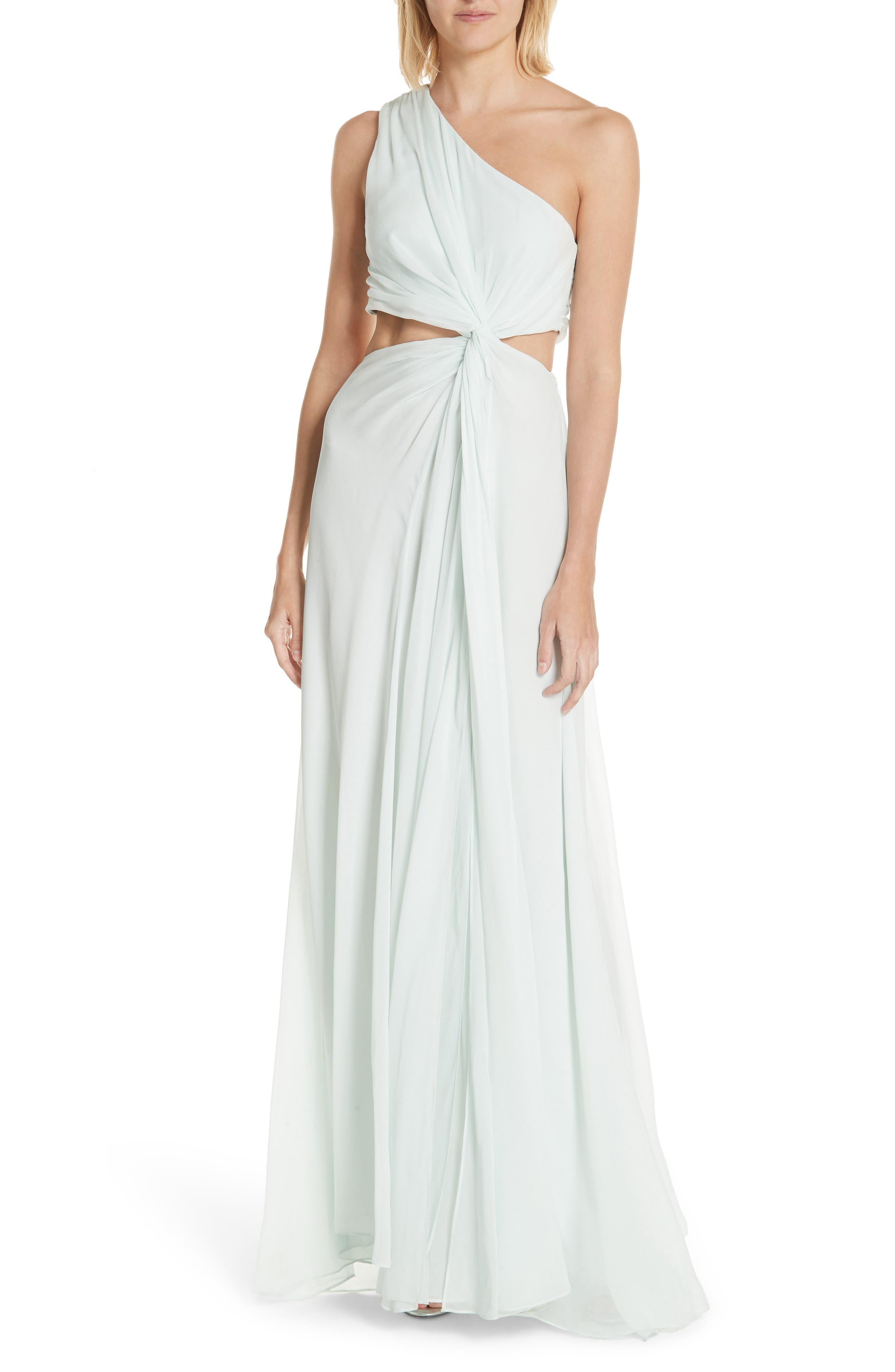 Cinq à Sept Goldie One-Shoulder Silk Gown