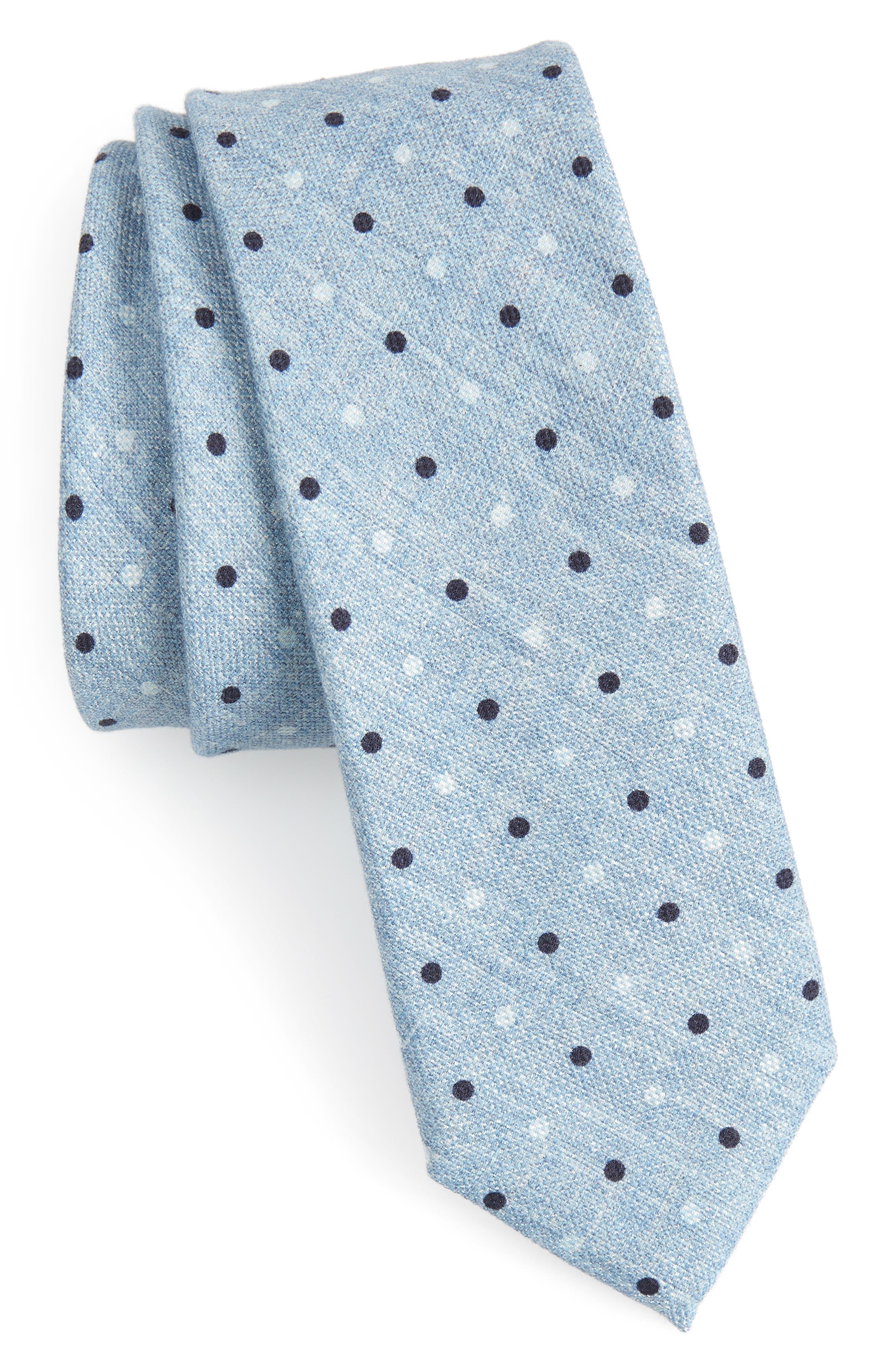 Dot Cotton & Silk Skinny Tie,                         Main,                         color, Blue