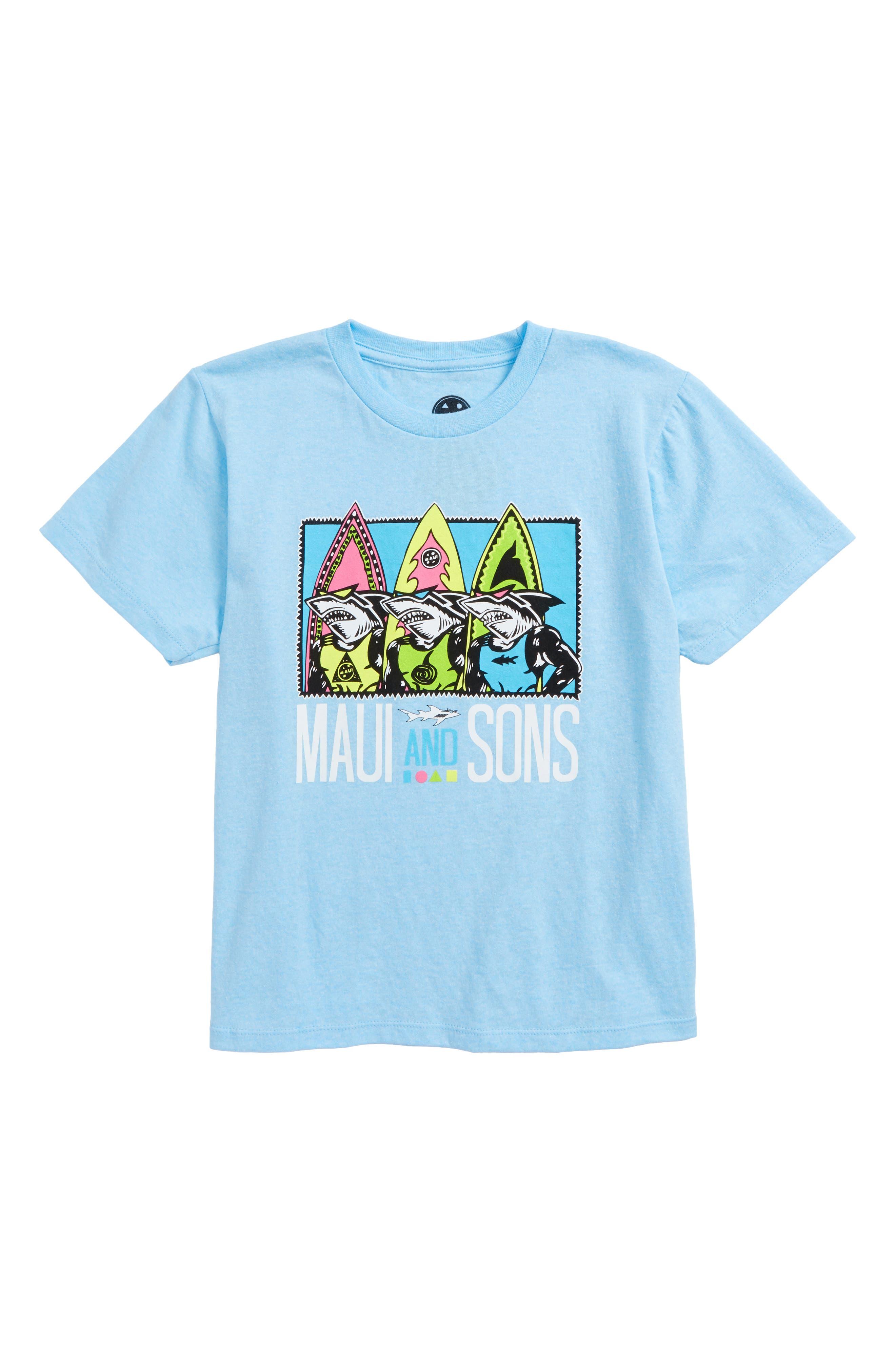 Maui & Sons Shark Row Graphic T-Shirt (Big Boys)