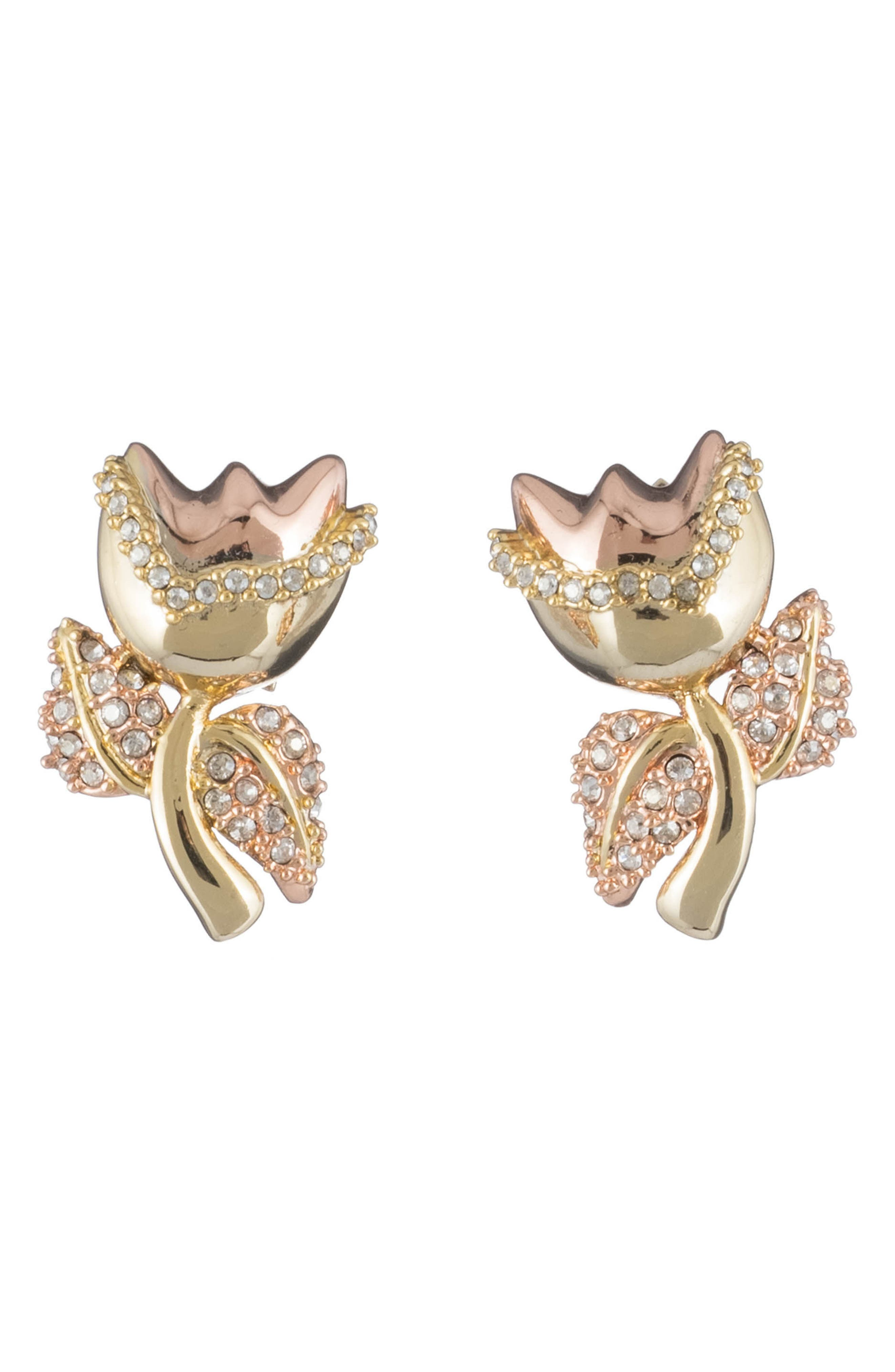 Tulip Stud Post Earrings,                         Main,                         color, Gold/ Silver