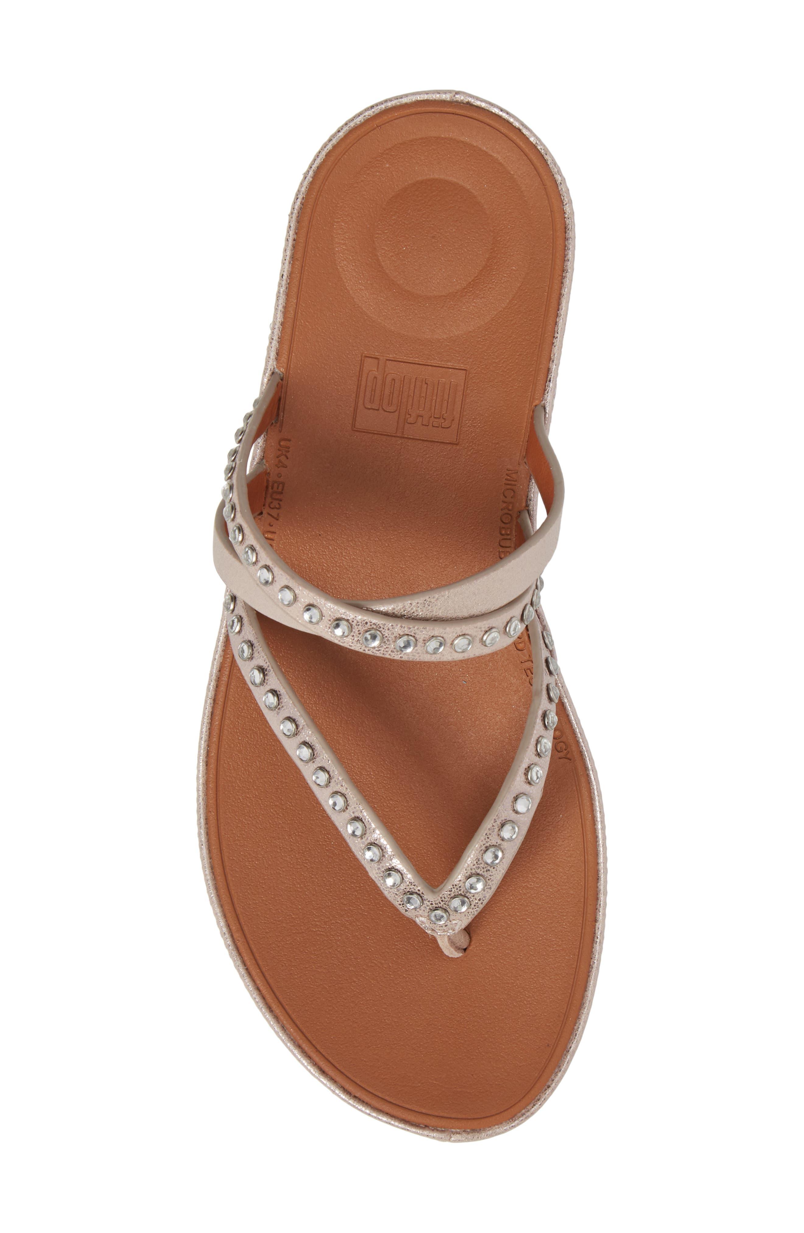 Linny Embellished Slide Sandal,                             Alternate thumbnail 5, color,                             Blush/ Metallic Nude Leather