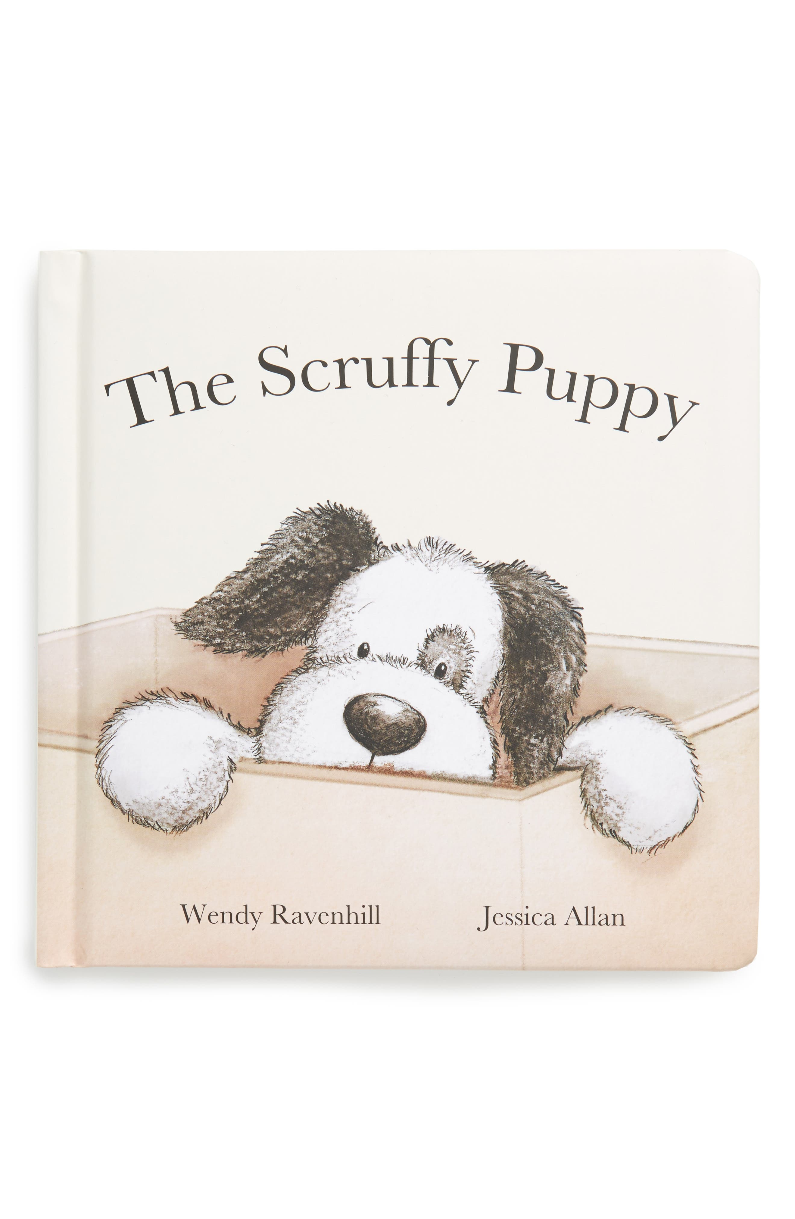 'The Scruffy Puppy' Board Book,                             Main thumbnail 1, color,                             Cream / Black
