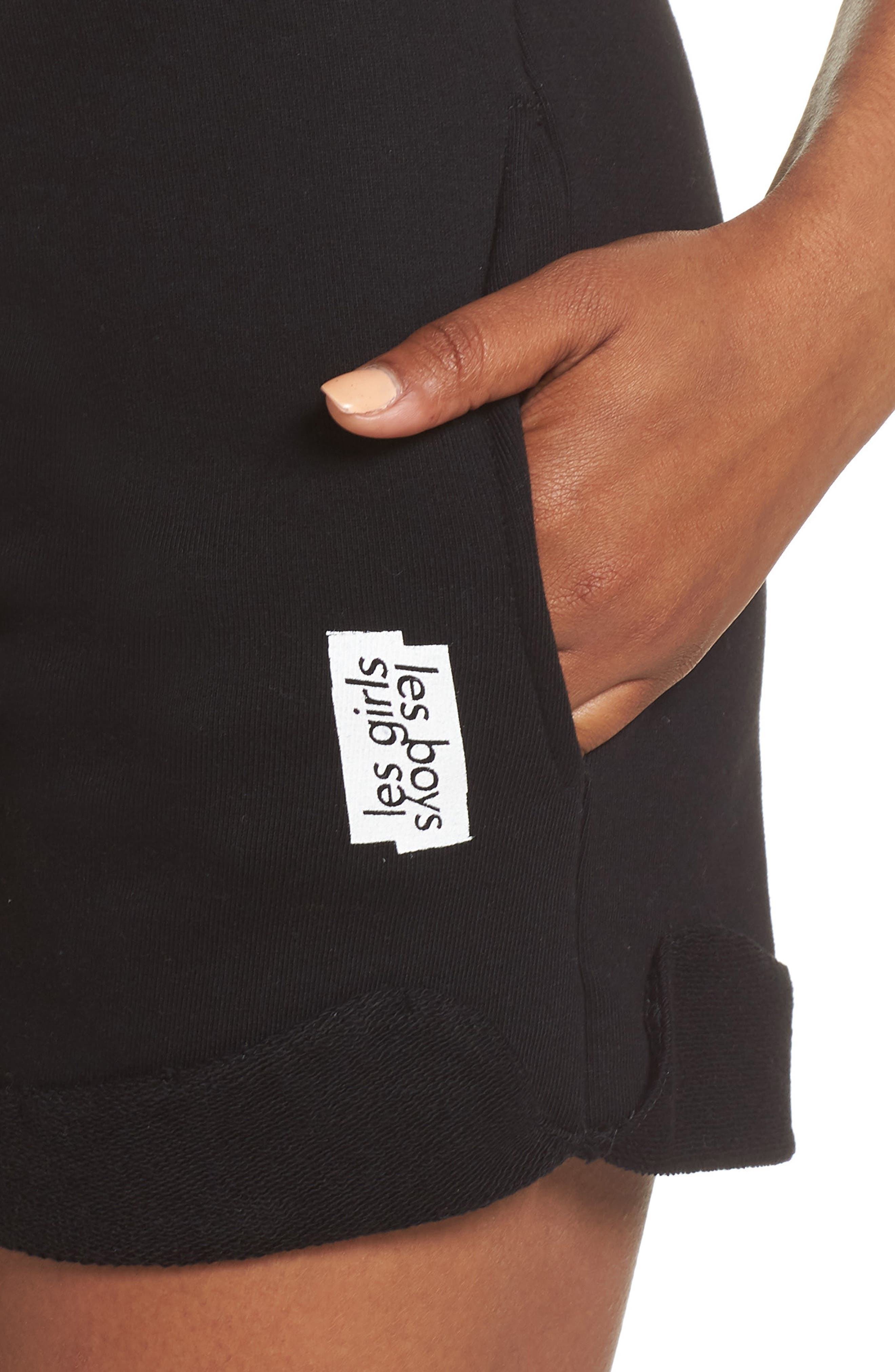 French Terry High Waist Shorts,                             Alternate thumbnail 6, color,                             Black